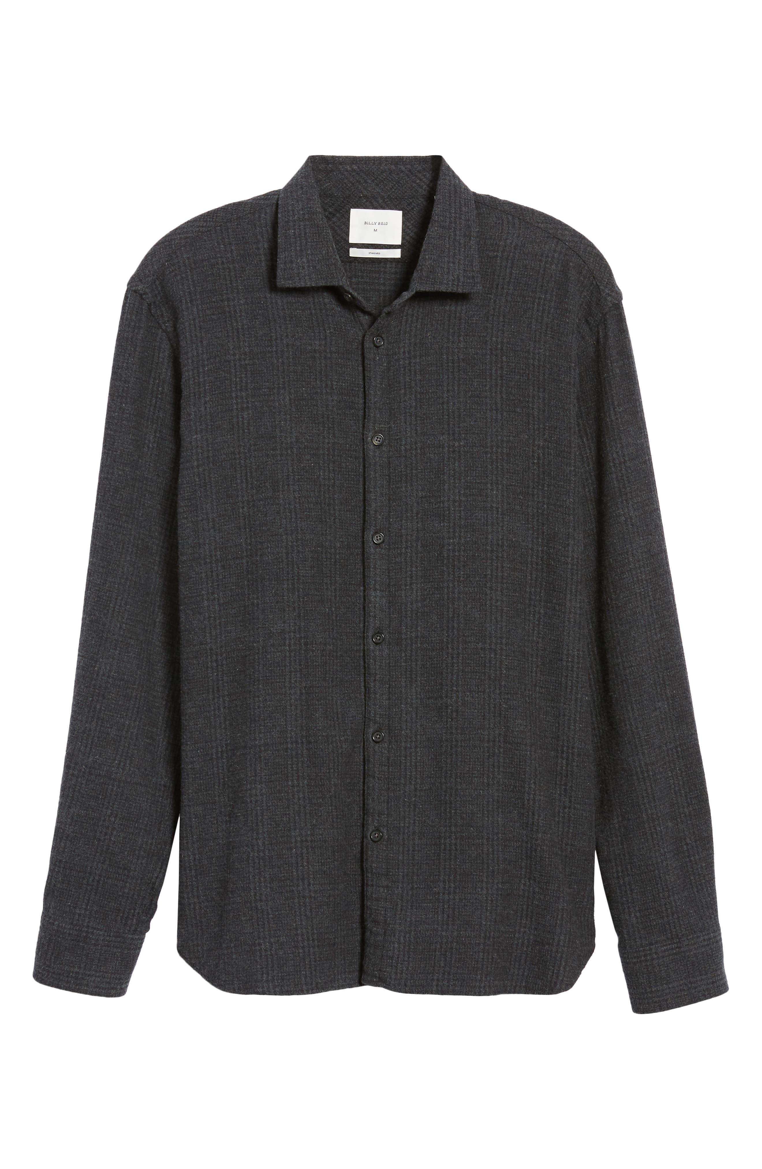 Walker Regular Fit Flannel Sport Shirt,                             Alternate thumbnail 6, color,                             CHARCOAL
