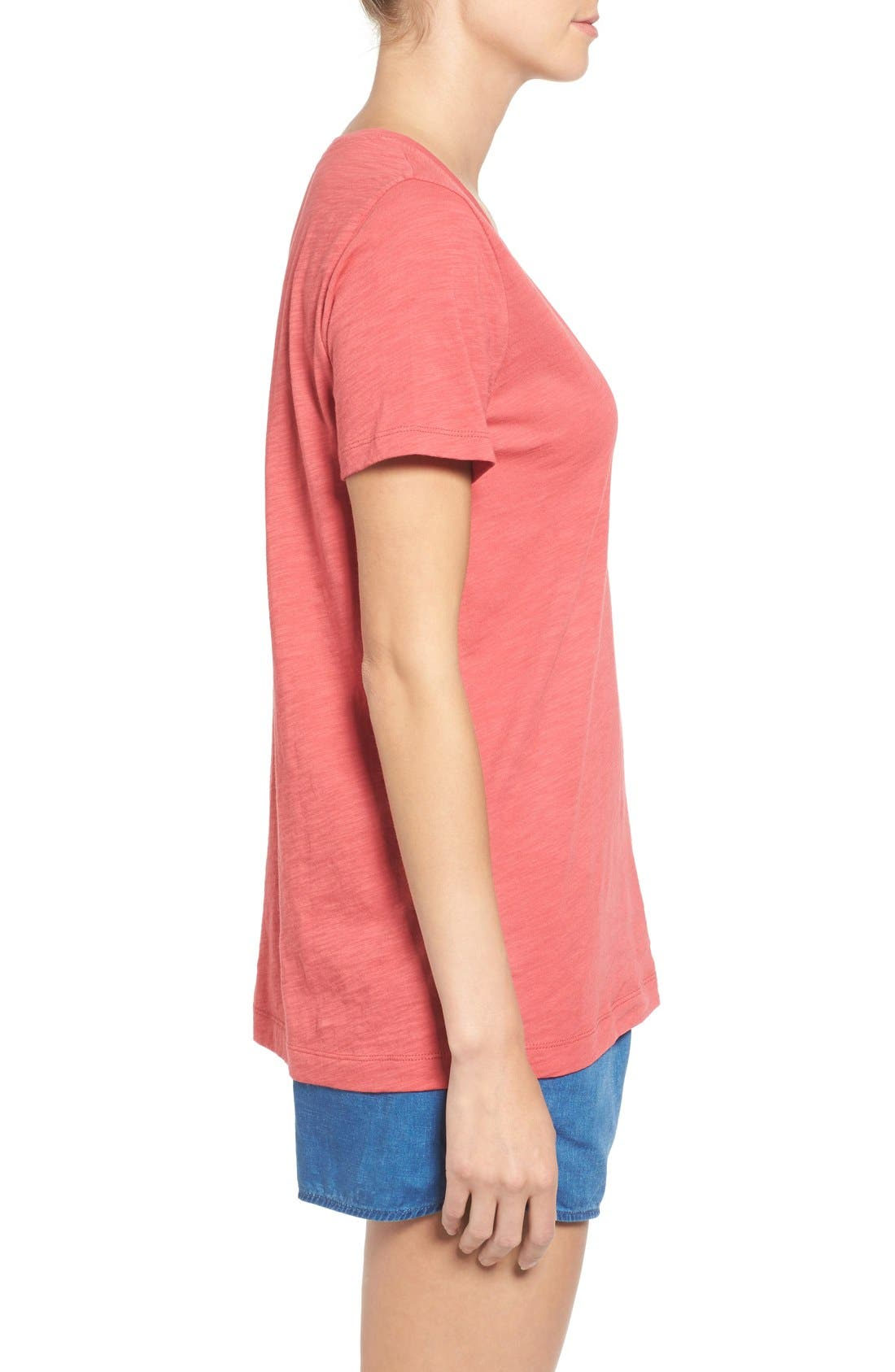 Whisper Cotton V-Neck Pocket Tee,                             Alternate thumbnail 123, color,