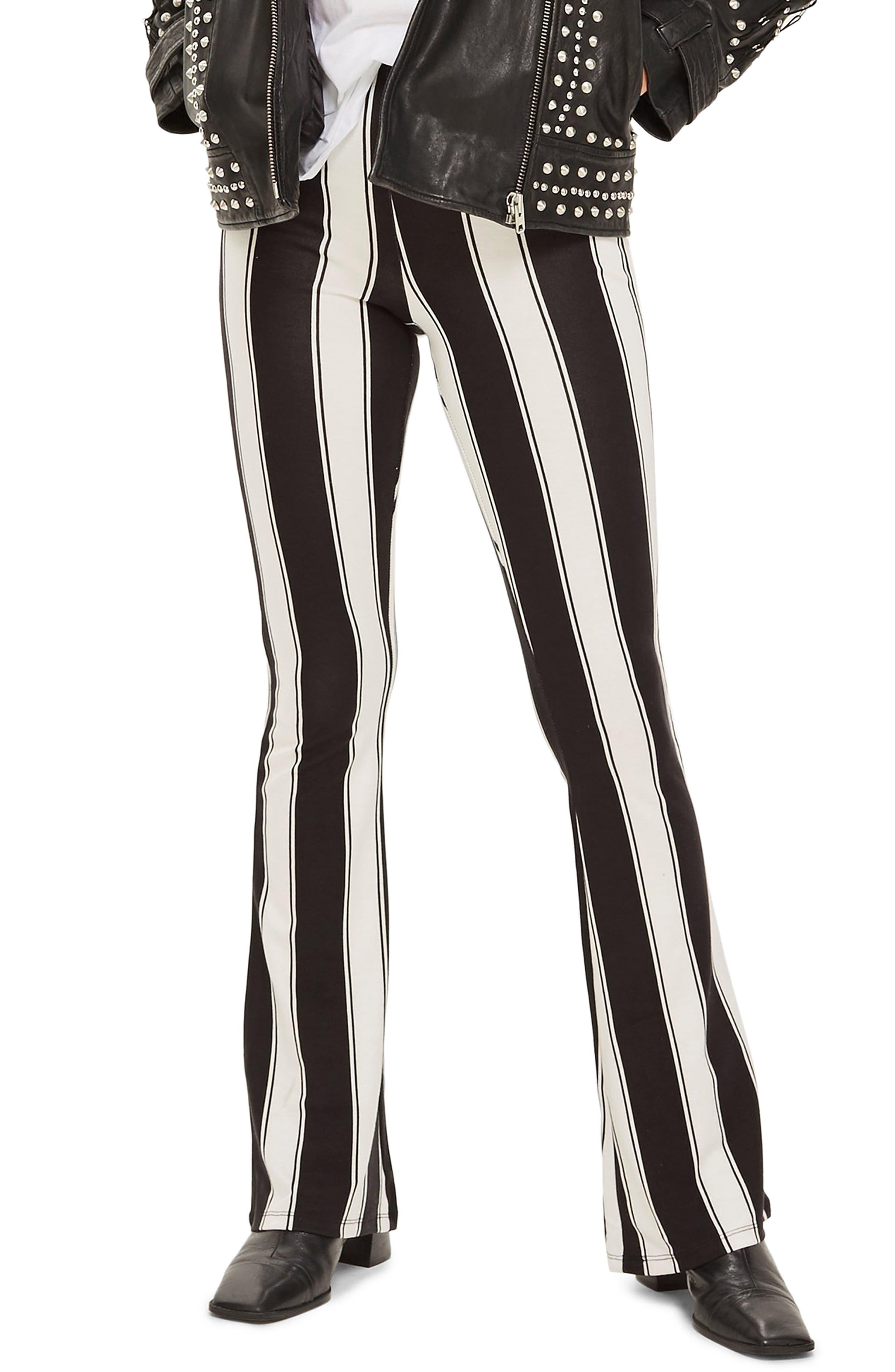 Stripe Flare Trousers,                         Main,                         color, BLACK MULTI