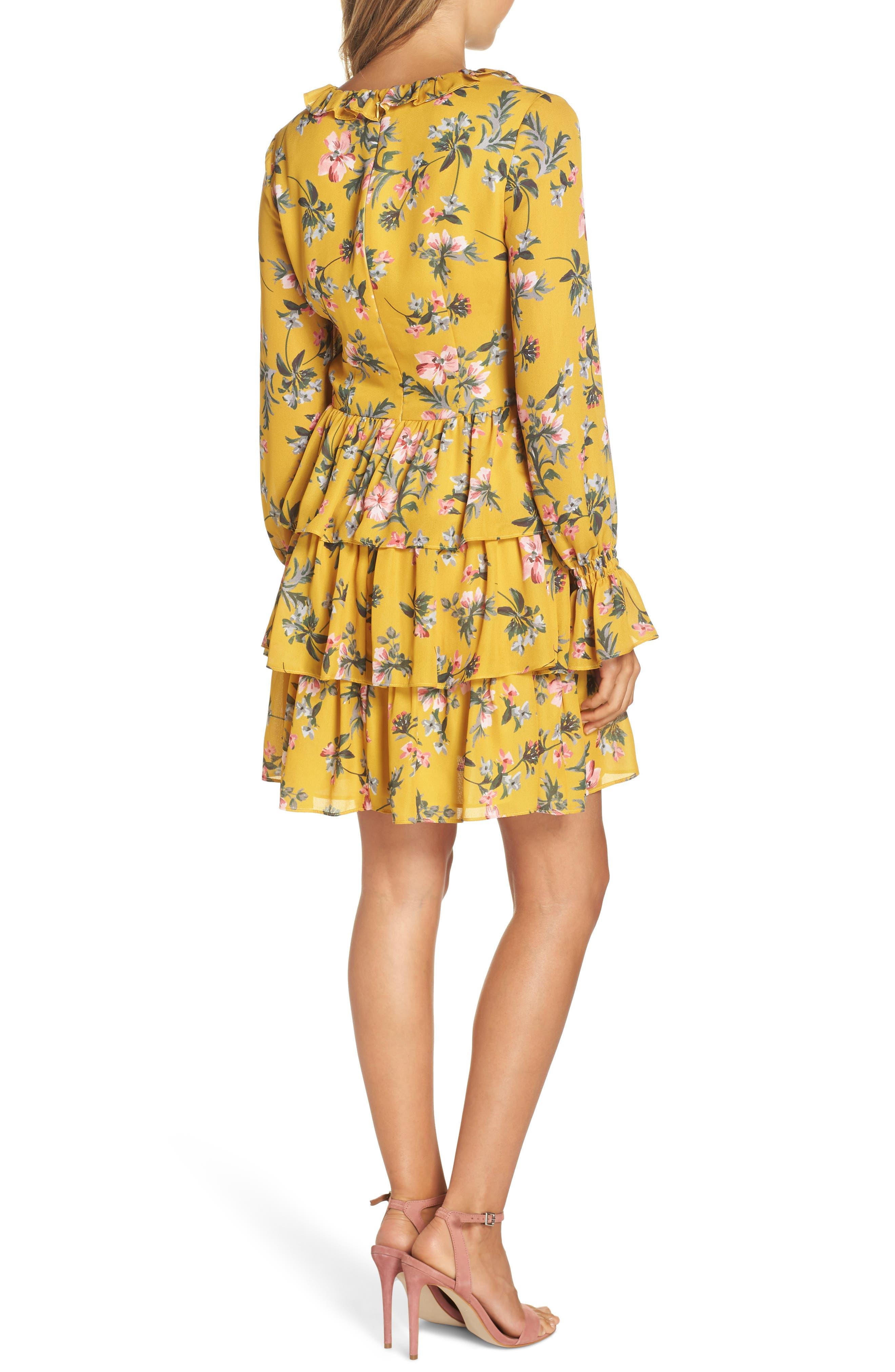 Floral Ruffle Dress,                             Alternate thumbnail 2, color,                             MARIGOLD MULTI