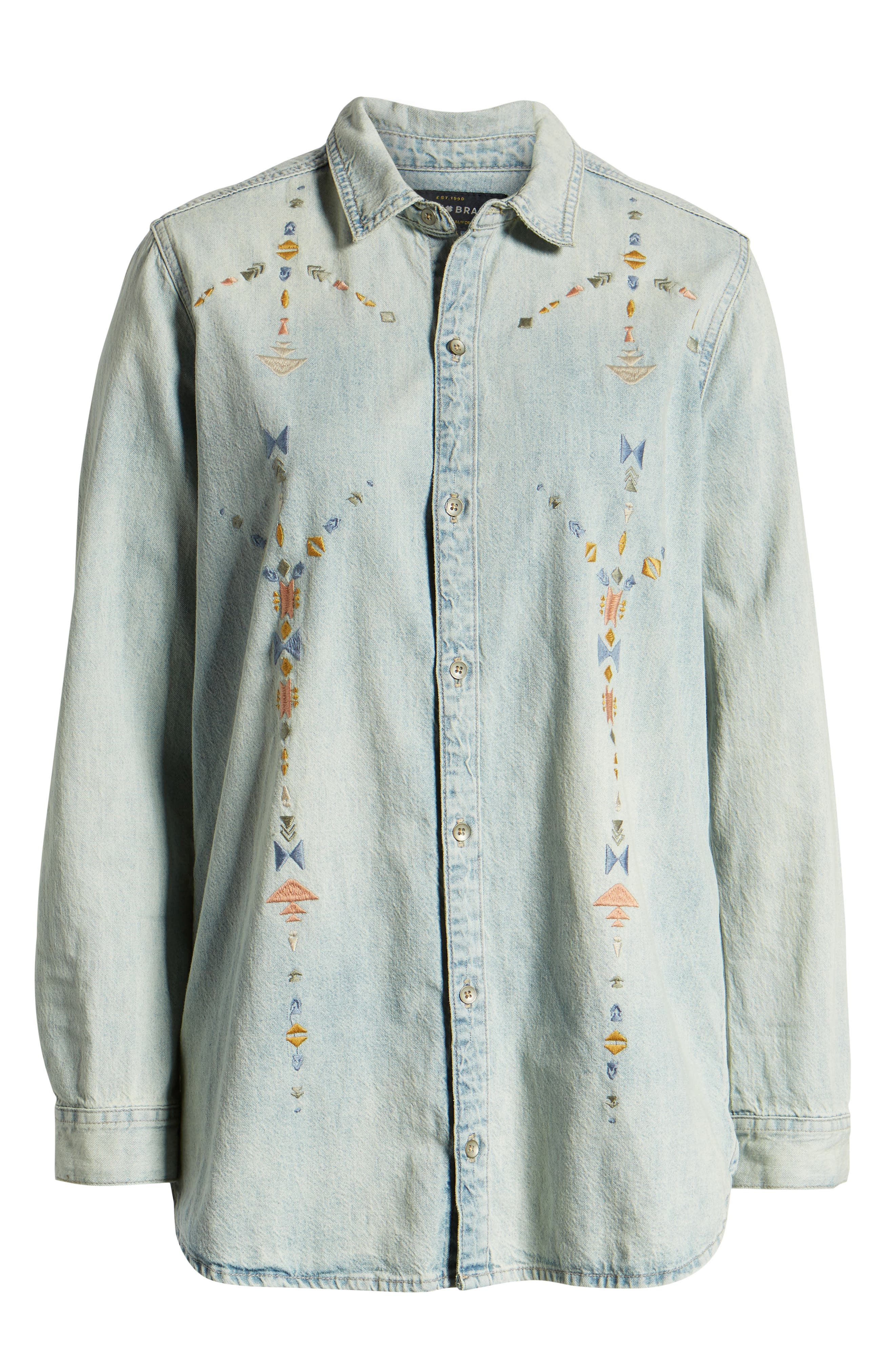 Embroidered Boyfriend Shirt,                             Alternate thumbnail 6, color,                             SADDLE HILL