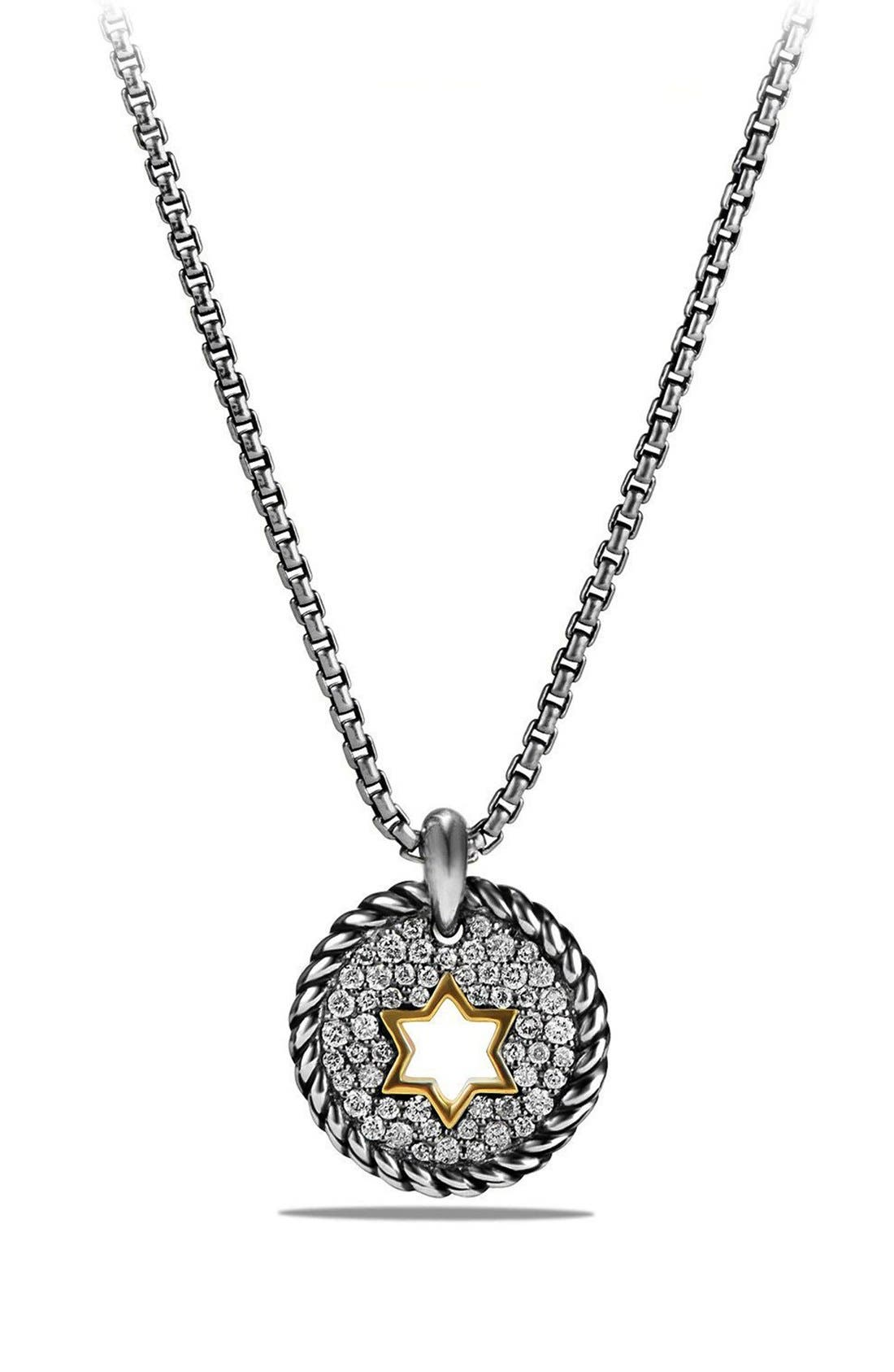 'Pettie Pavé' Star of David Pendant Necklace,                             Main thumbnail 1, color,                             SILVER