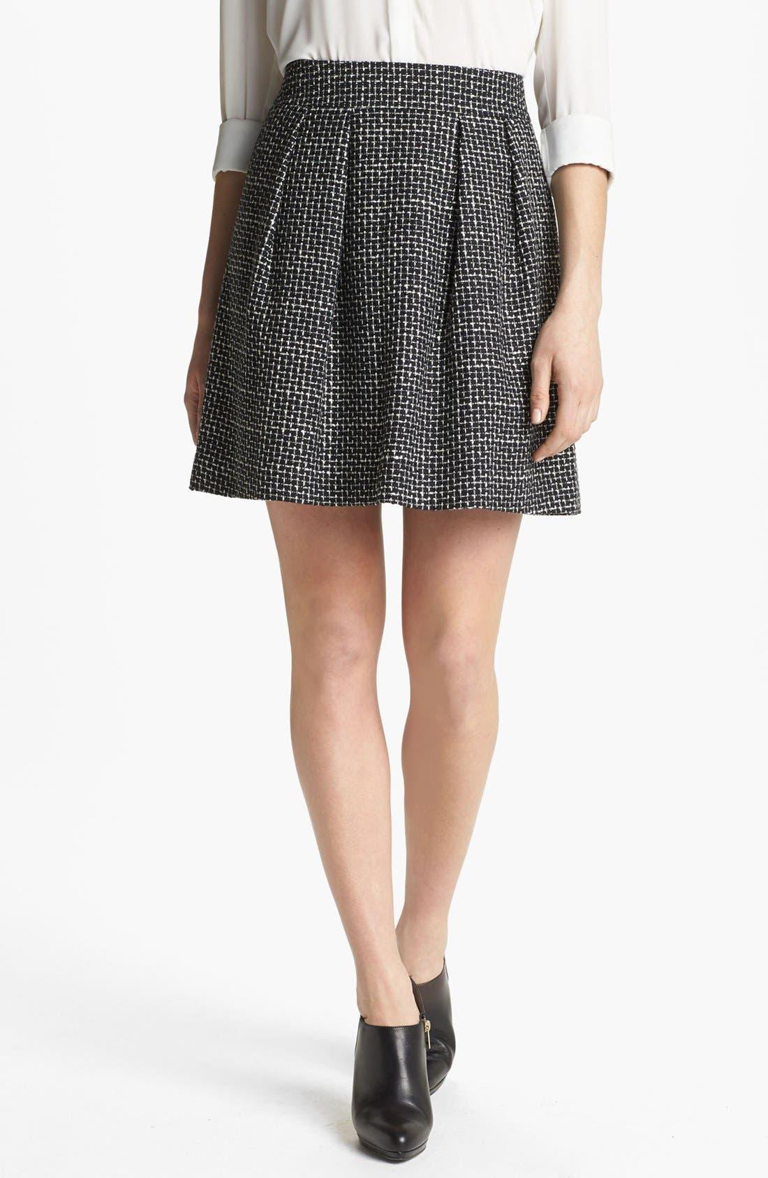 Pleated A-Line Skirt,                             Main thumbnail 1, color,                             001