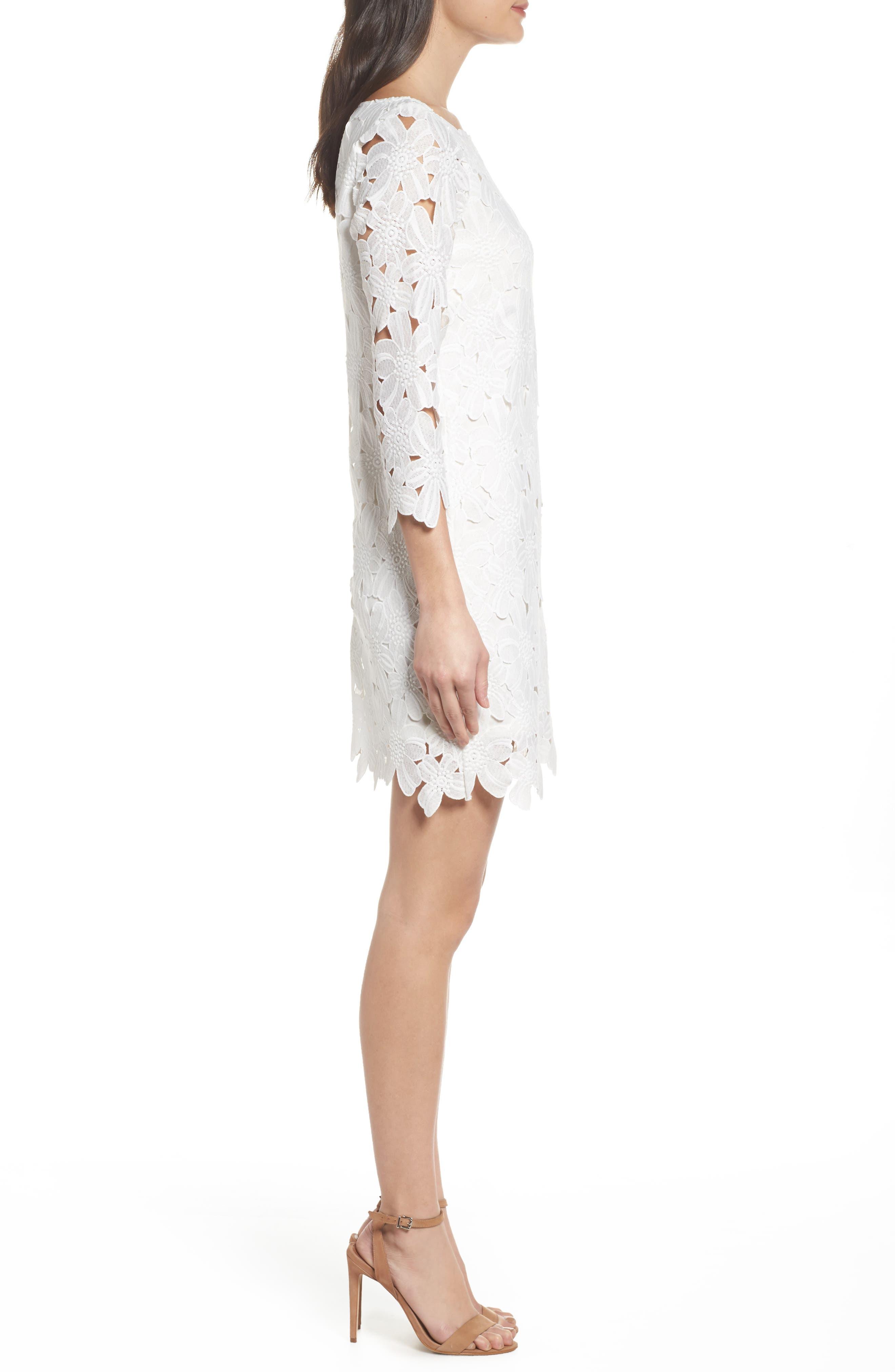 Belza Floral Lace Shift Dress,                             Alternate thumbnail 3, color,                             100