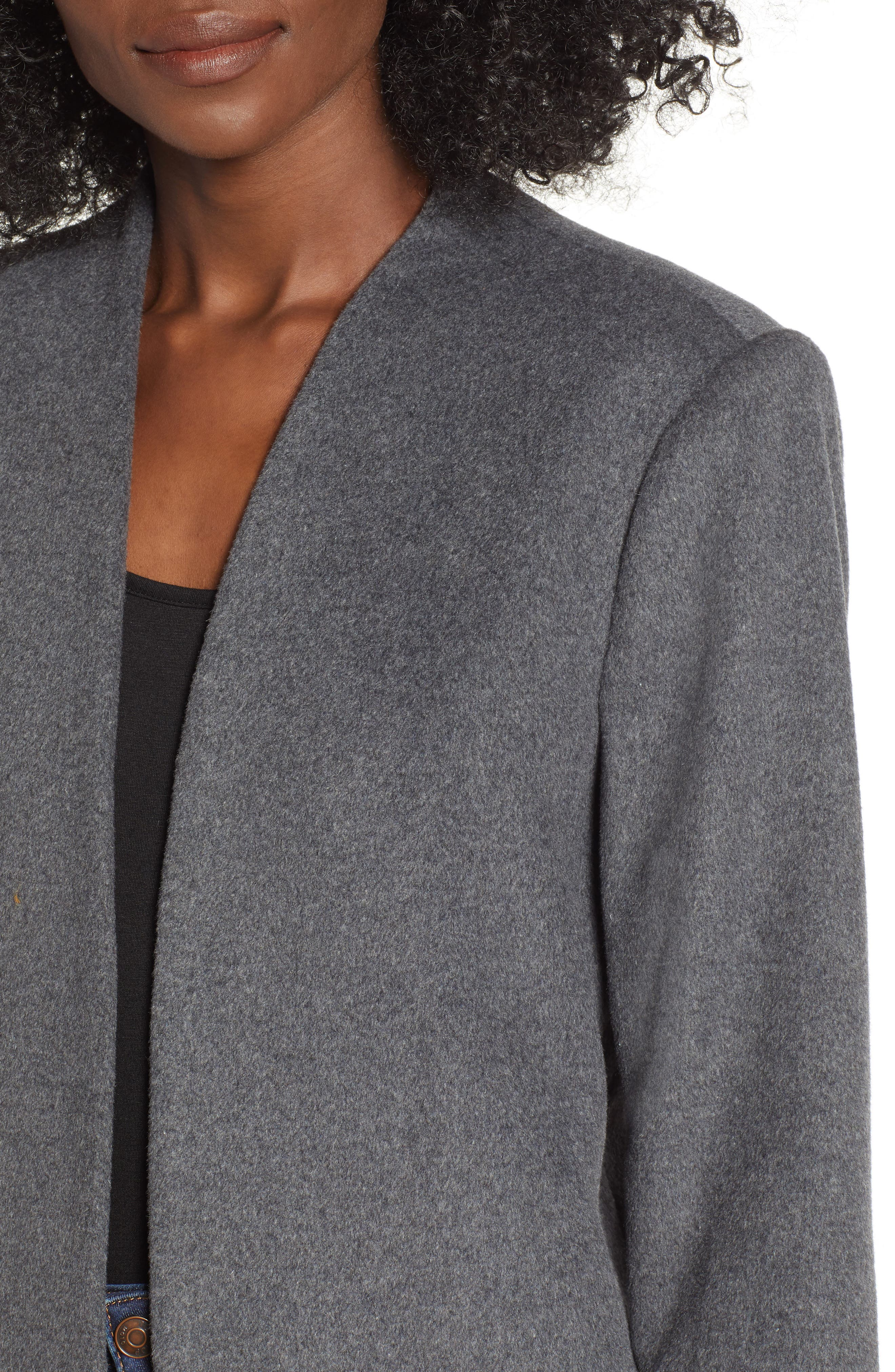 MURAL,                             Long Open Front Coat,                             Alternate thumbnail 4, color,                             CHARCOAL GREY