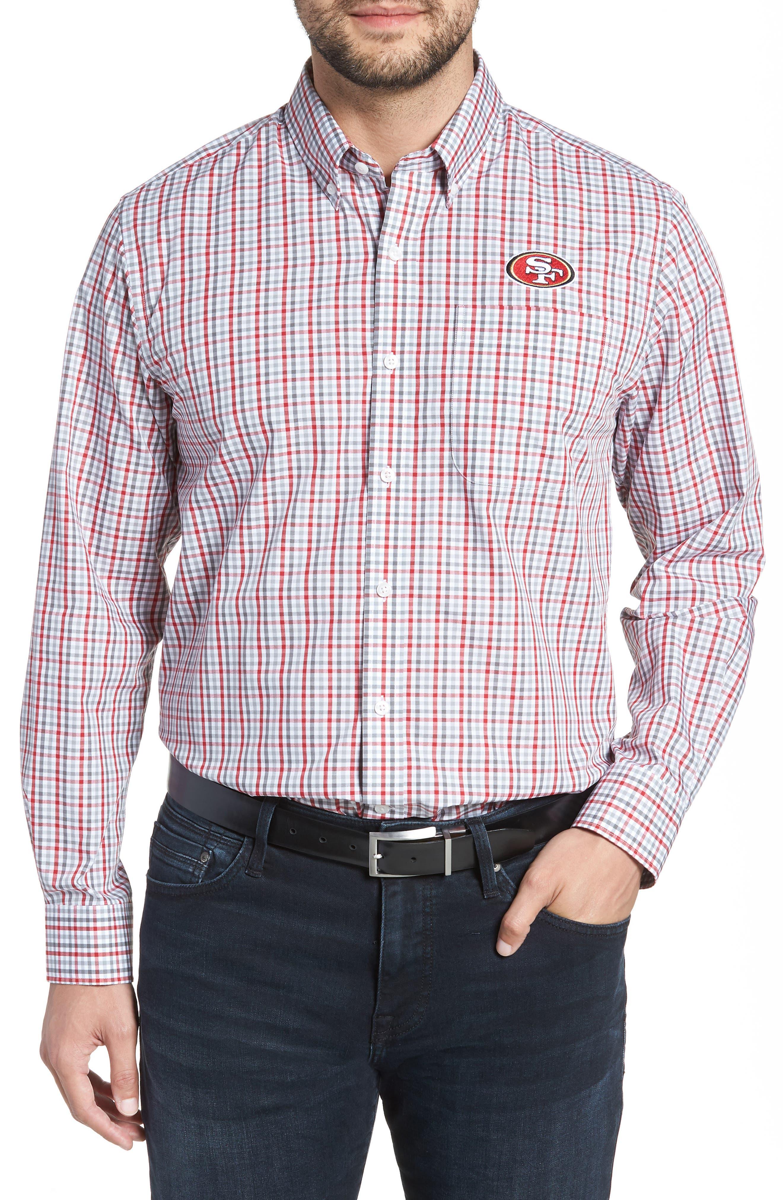 San Francisco 49ers - Gilman Regular Fit Plaid Sport Shirt,                         Main,                         color, CARDINAL RED