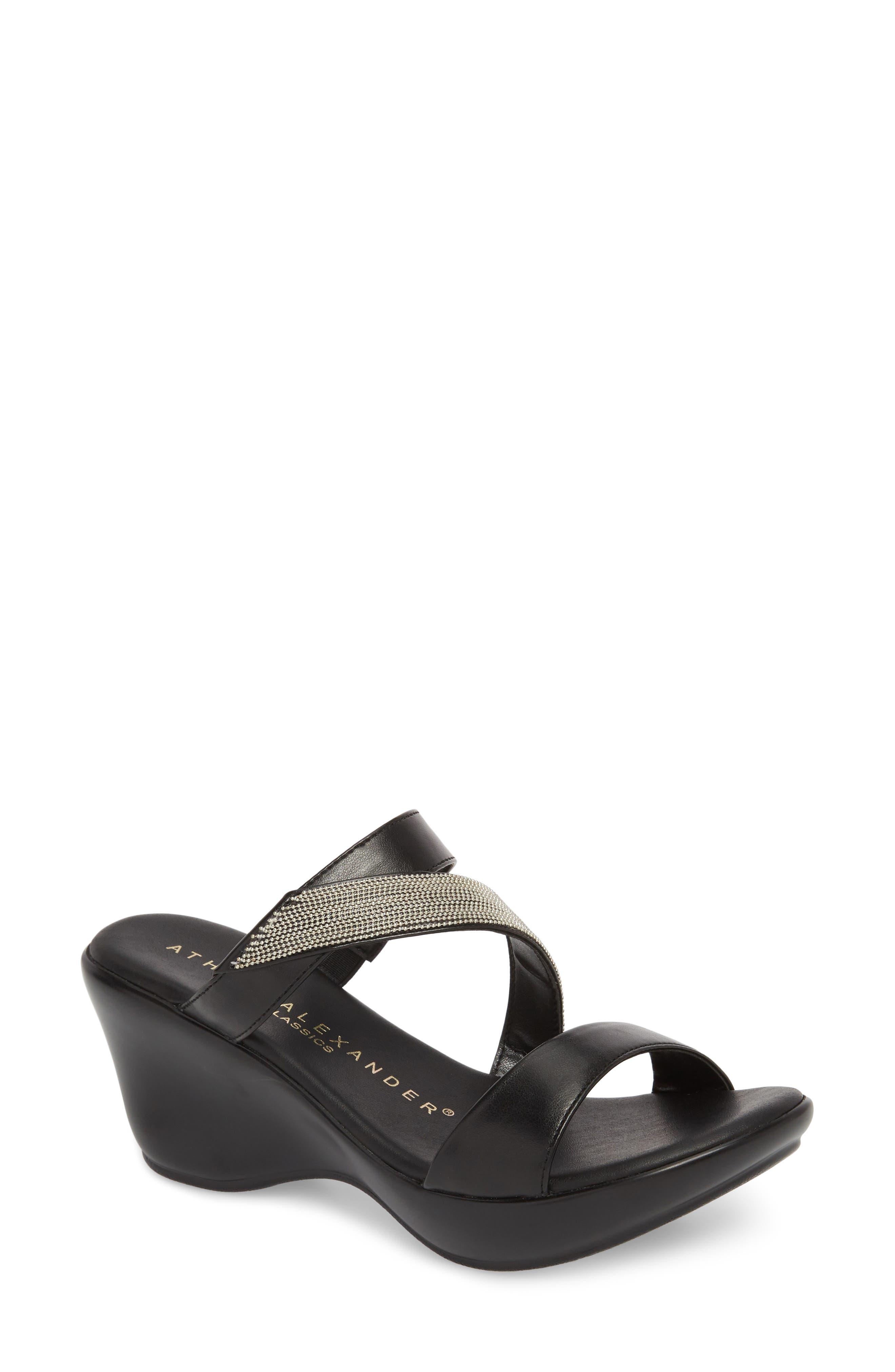 Athena Alexander Peyton Asymmetrical Slide Sandal- Black