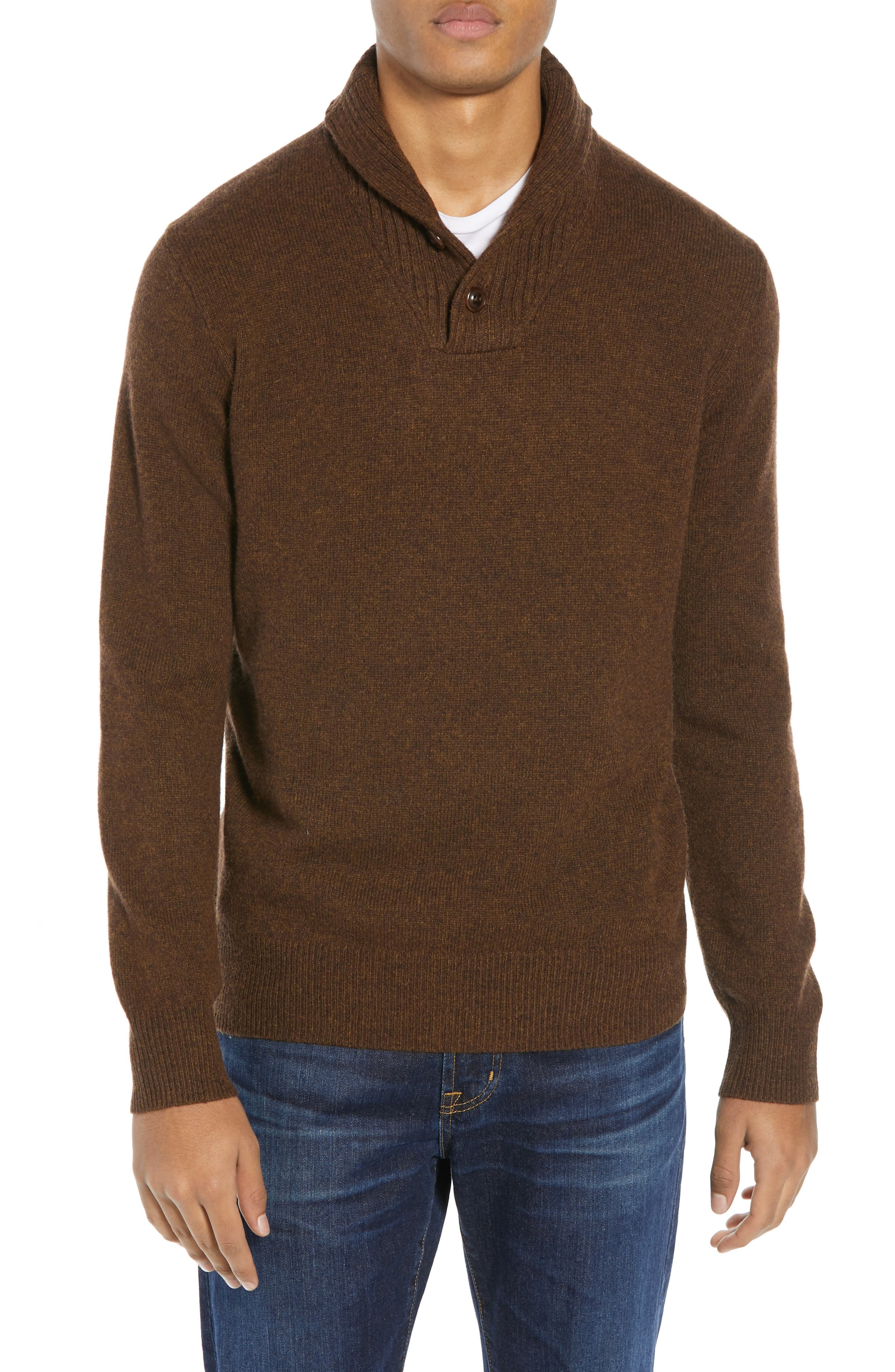 J.crew Rugged Merino Wool Blend Shawl Collar Pullover, Brown