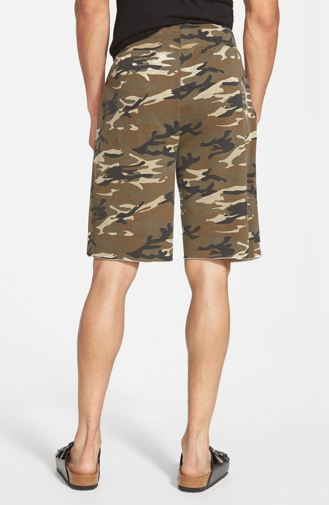 'Victory' Camo French Terry Knit Cutoff Shorts,                             Alternate thumbnail 4, color,