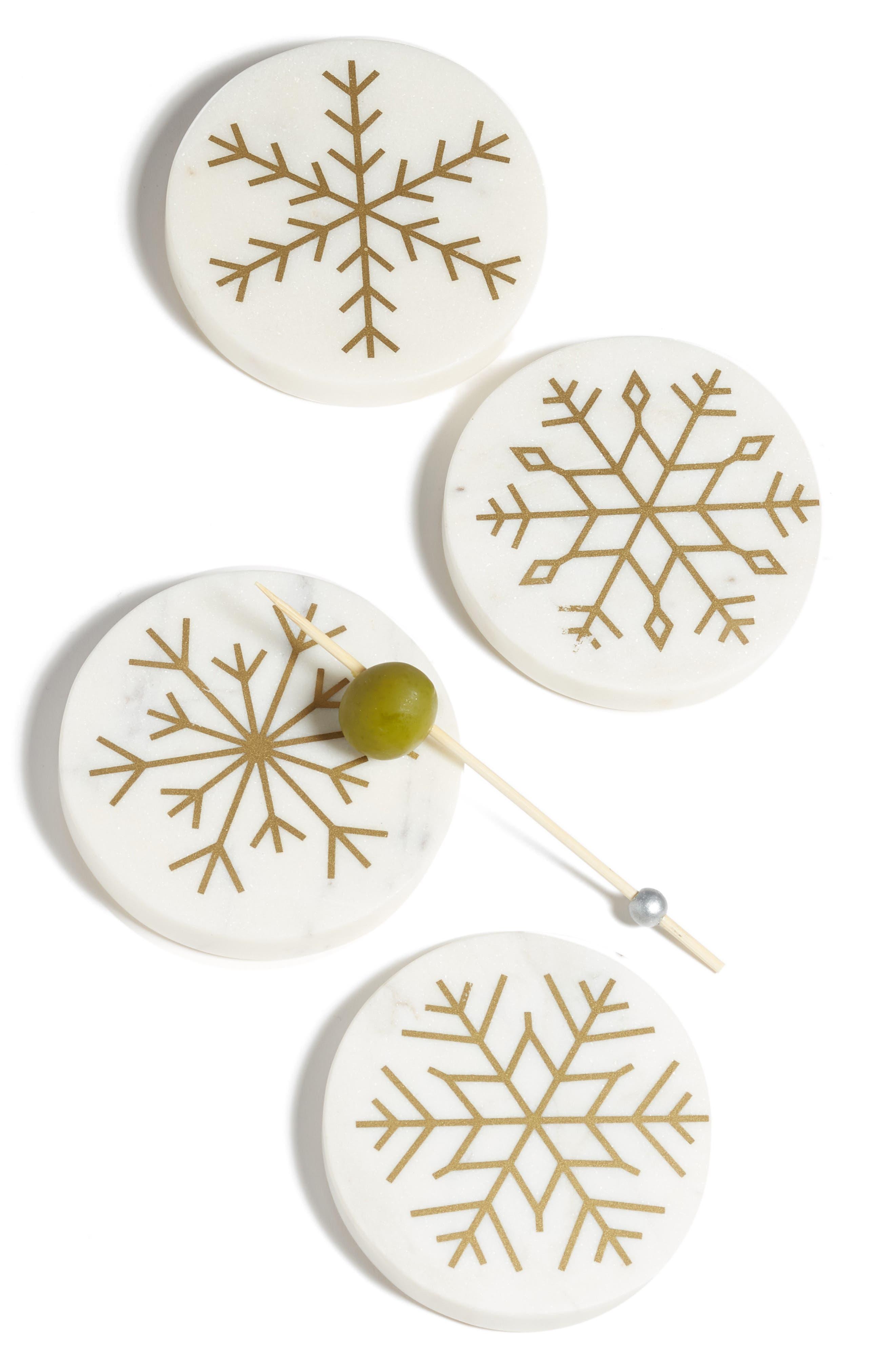 Snowflake Set of 4 Marble Coasters,                             Main thumbnail 1, color,                             100