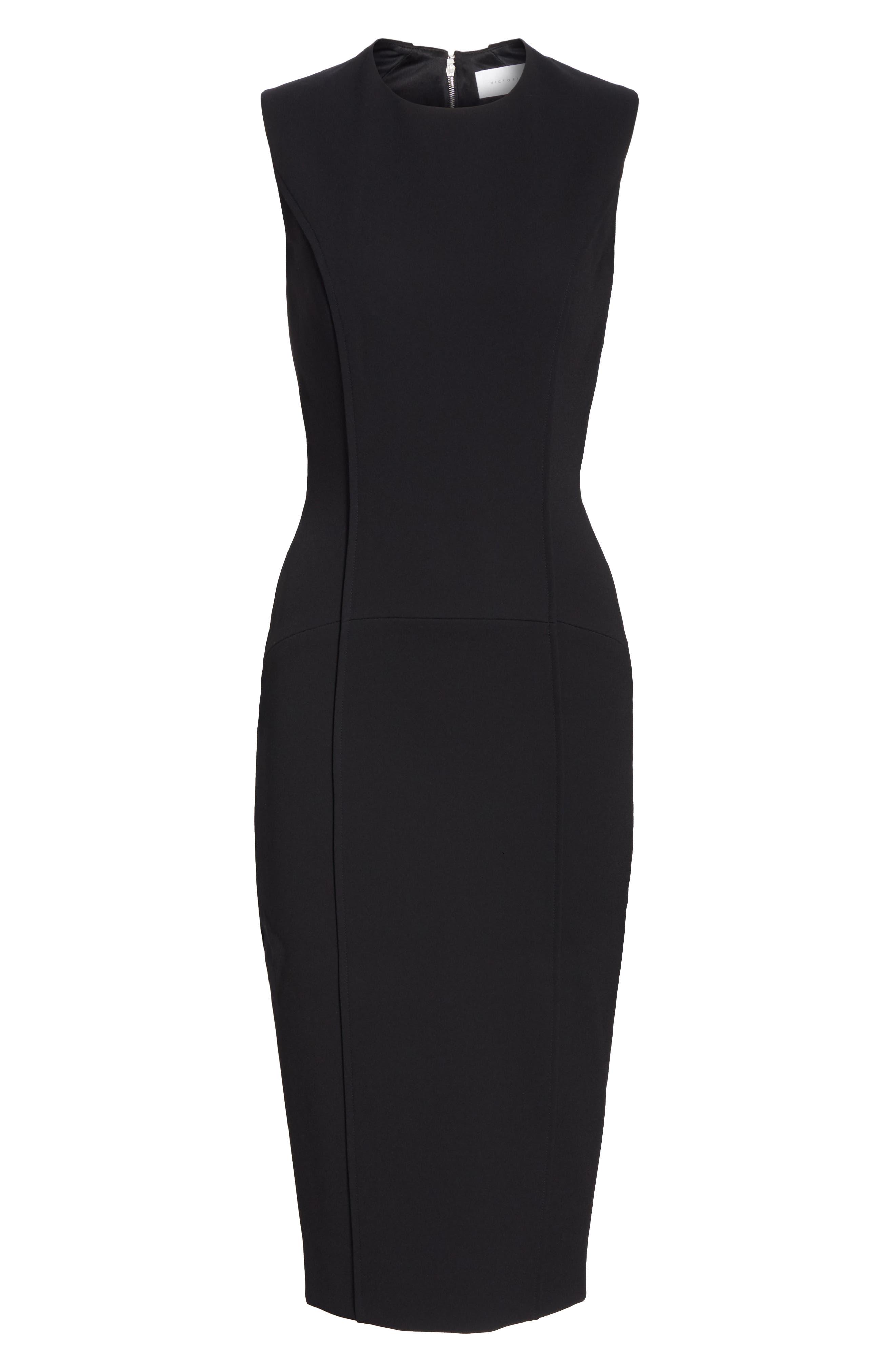 Back Zip Body-Con Dress,                             Alternate thumbnail 7, color,                             BLACK