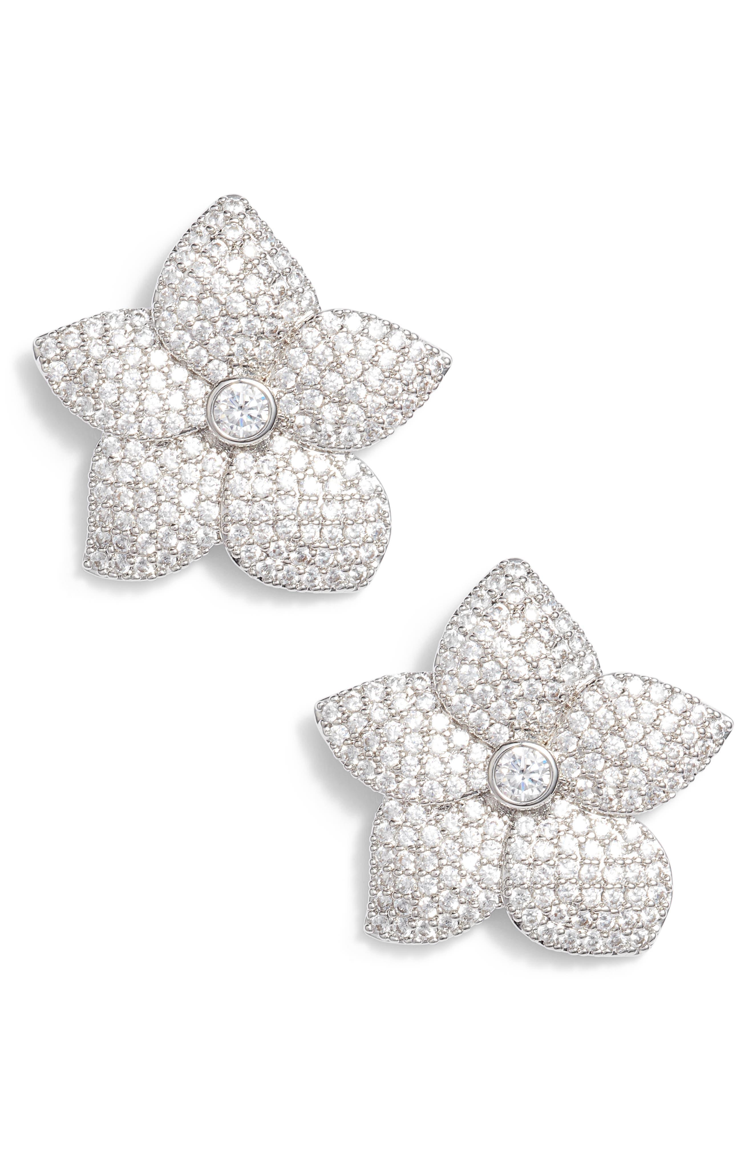 blooming pavé stud earrings,                         Main,                         color, 040