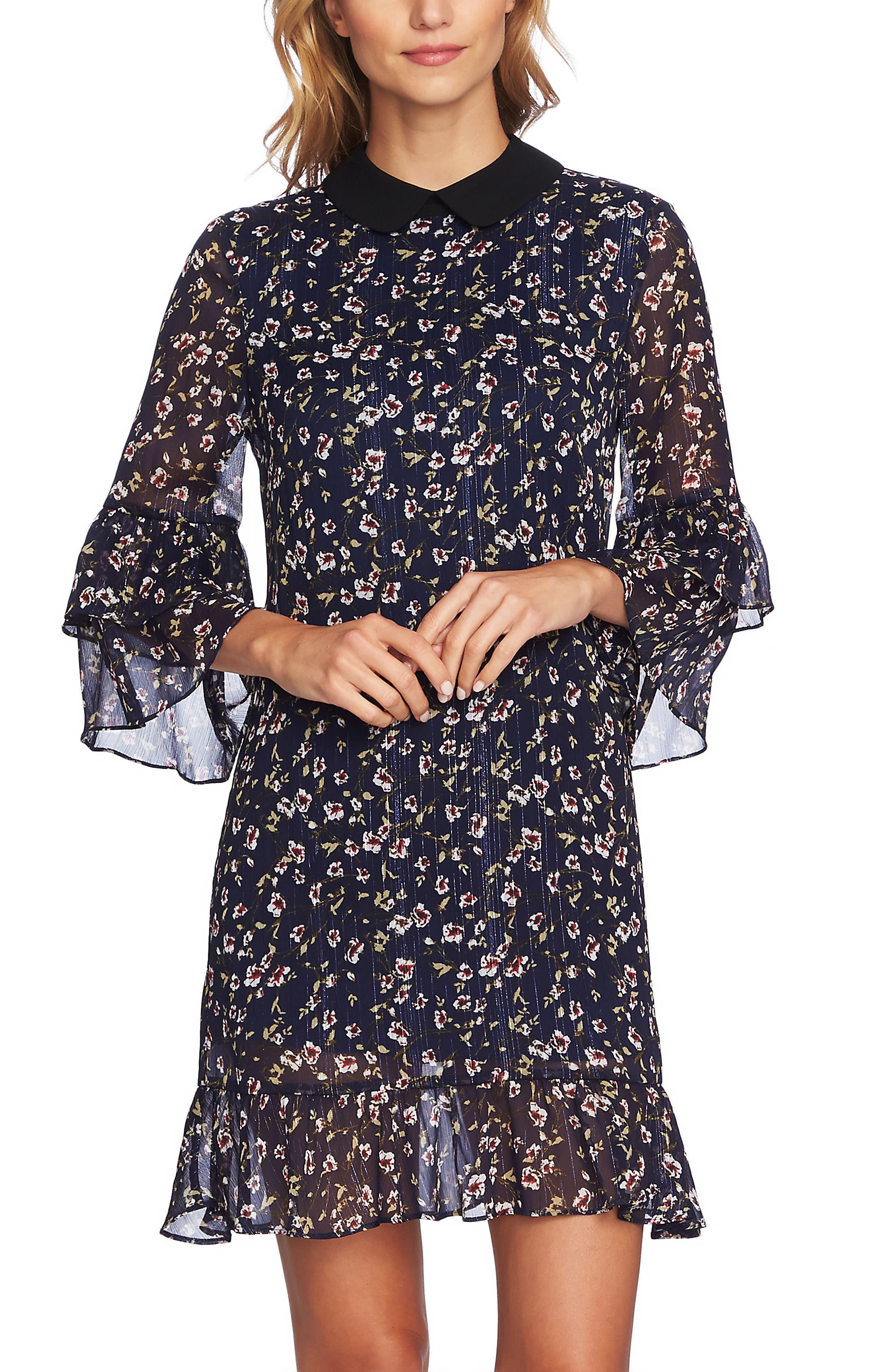 Festive Metallic Stripe Floral Ruffle Dress,                             Alternate thumbnail 5, color,                             MIDNIGHT BLOOM