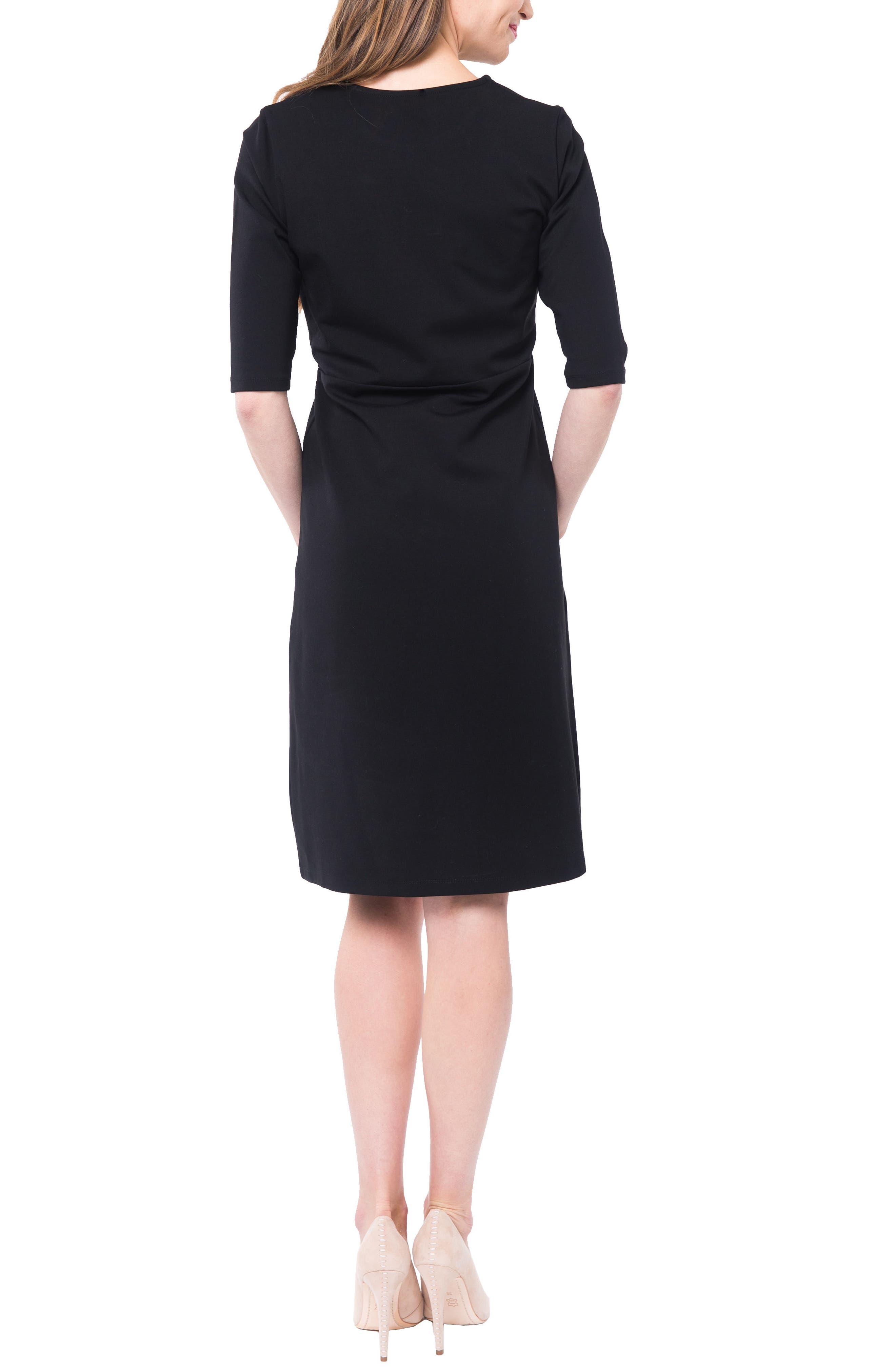Valentina Ponté Knit Maternity/Nursing Dress,                             Alternate thumbnail 2, color,                             BLACK