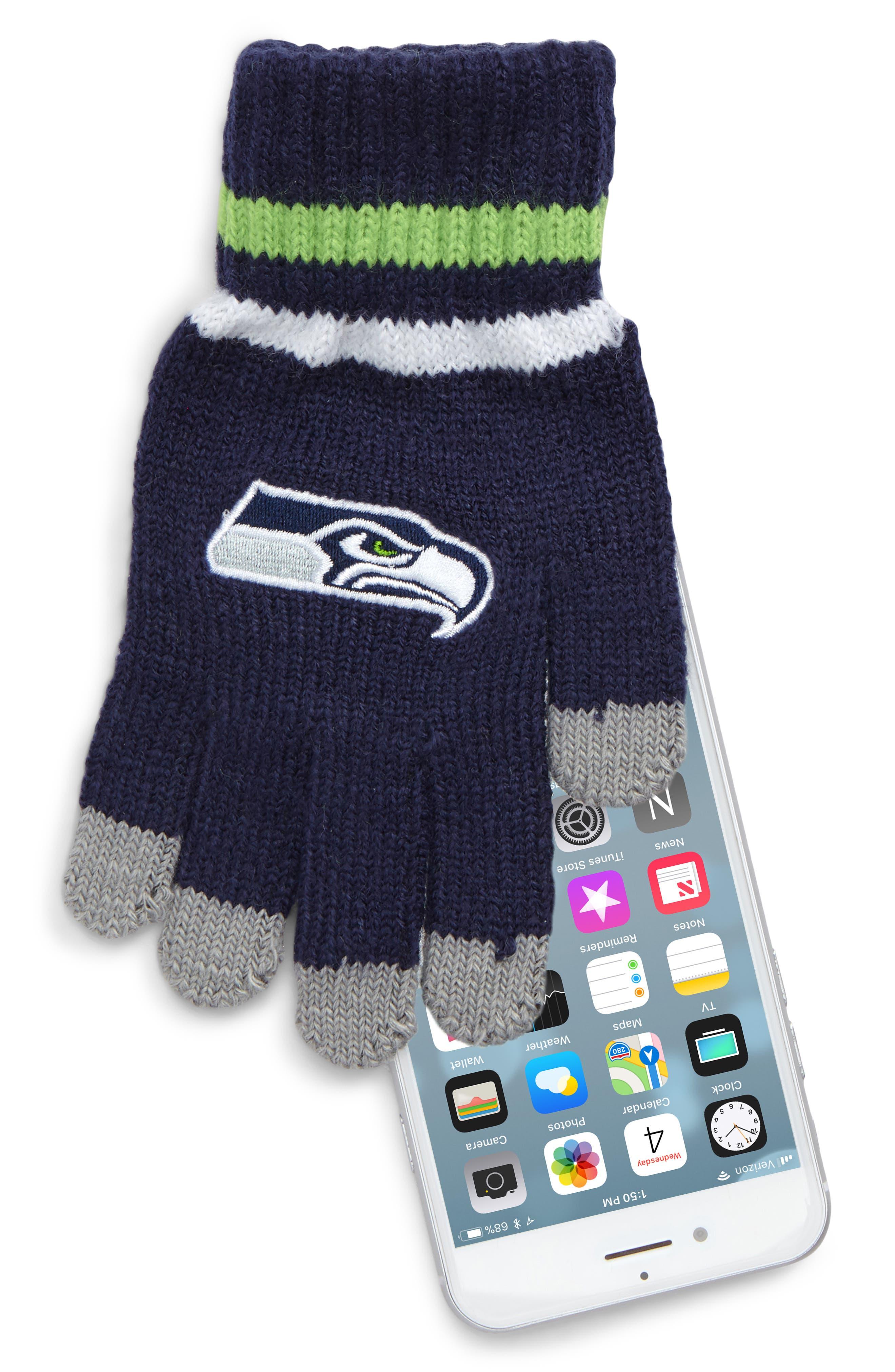 NFL Logo Pom Beanie & Tech Gloves Set,                             Alternate thumbnail 9, color,