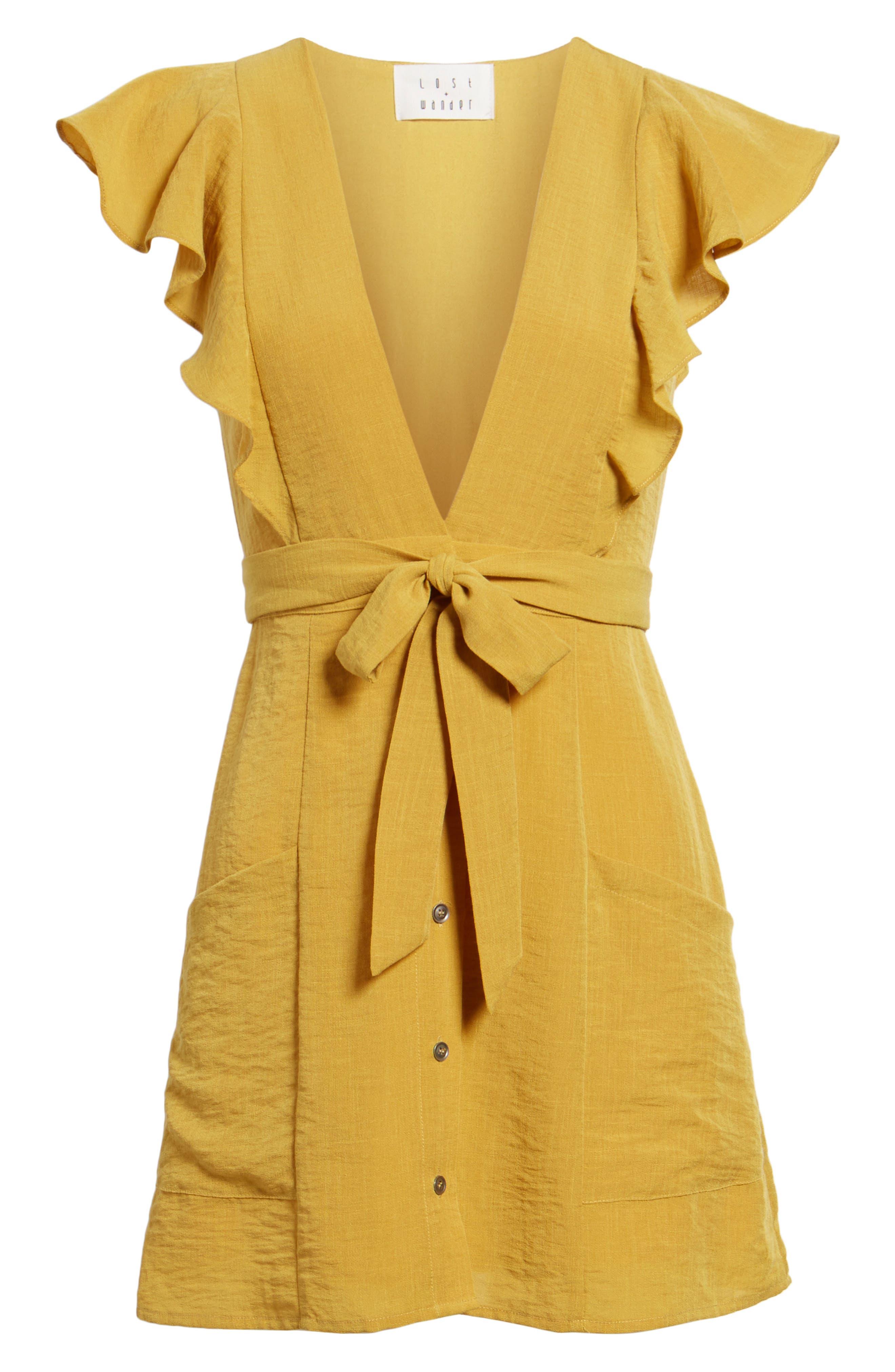 Poppy Flutter Sleeve Tie Dress,                             Alternate thumbnail 6, color,
