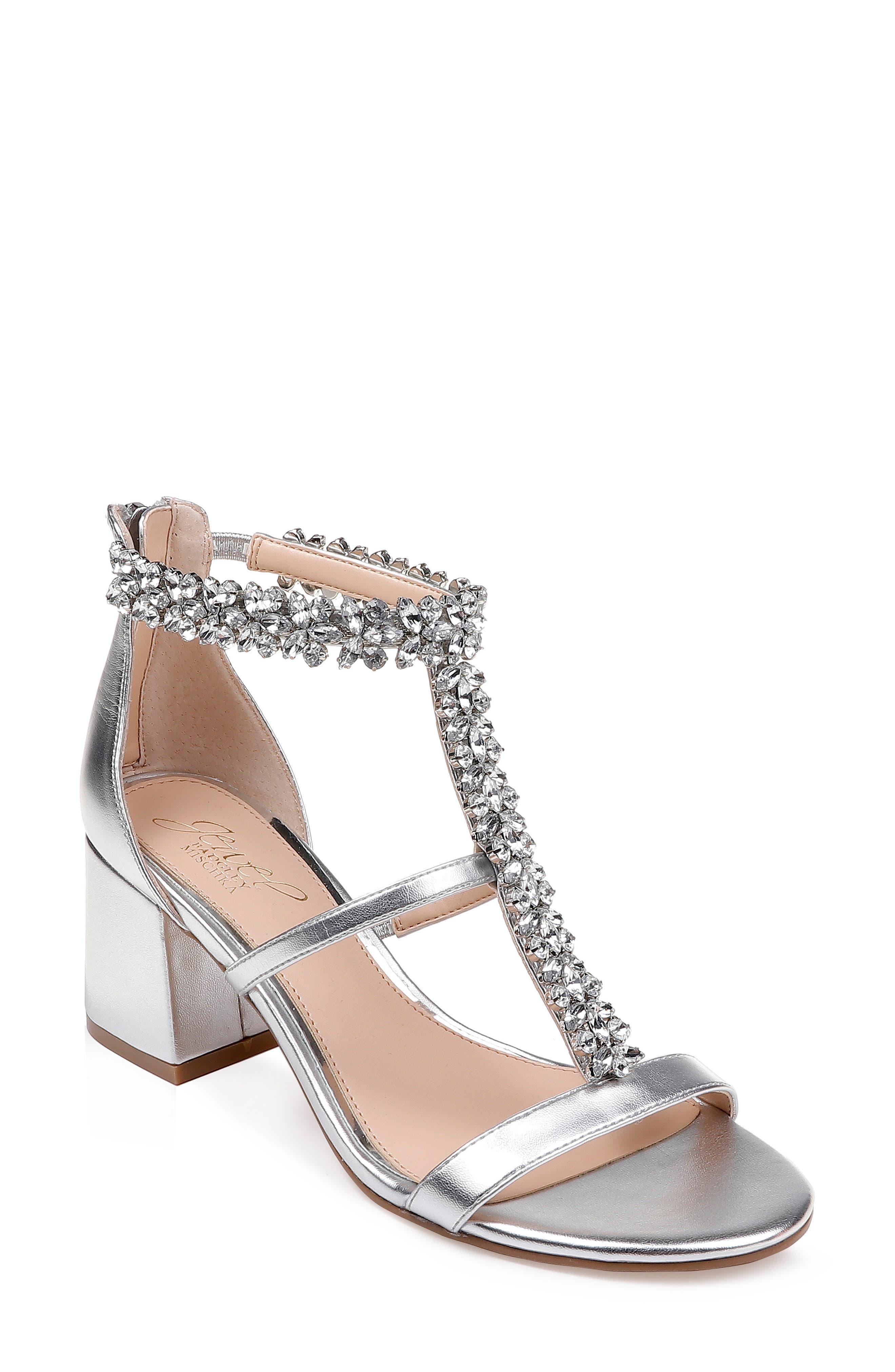 95d9c86cc512 Jewel Badgley Mischka Janica Block Heel Sandal- Metallic