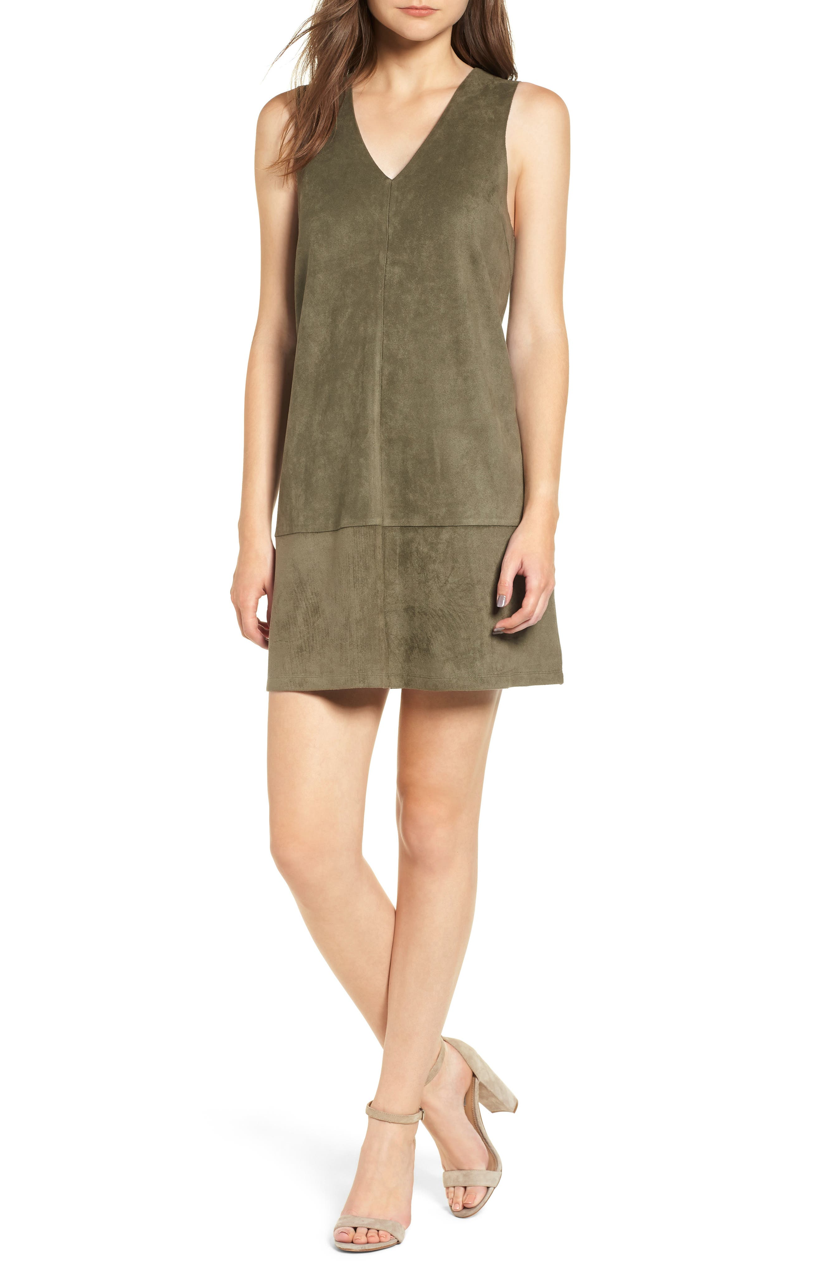 Bishop + Young Sueded Sleeveless Shift Dress,                         Main,                         color, OLIVE