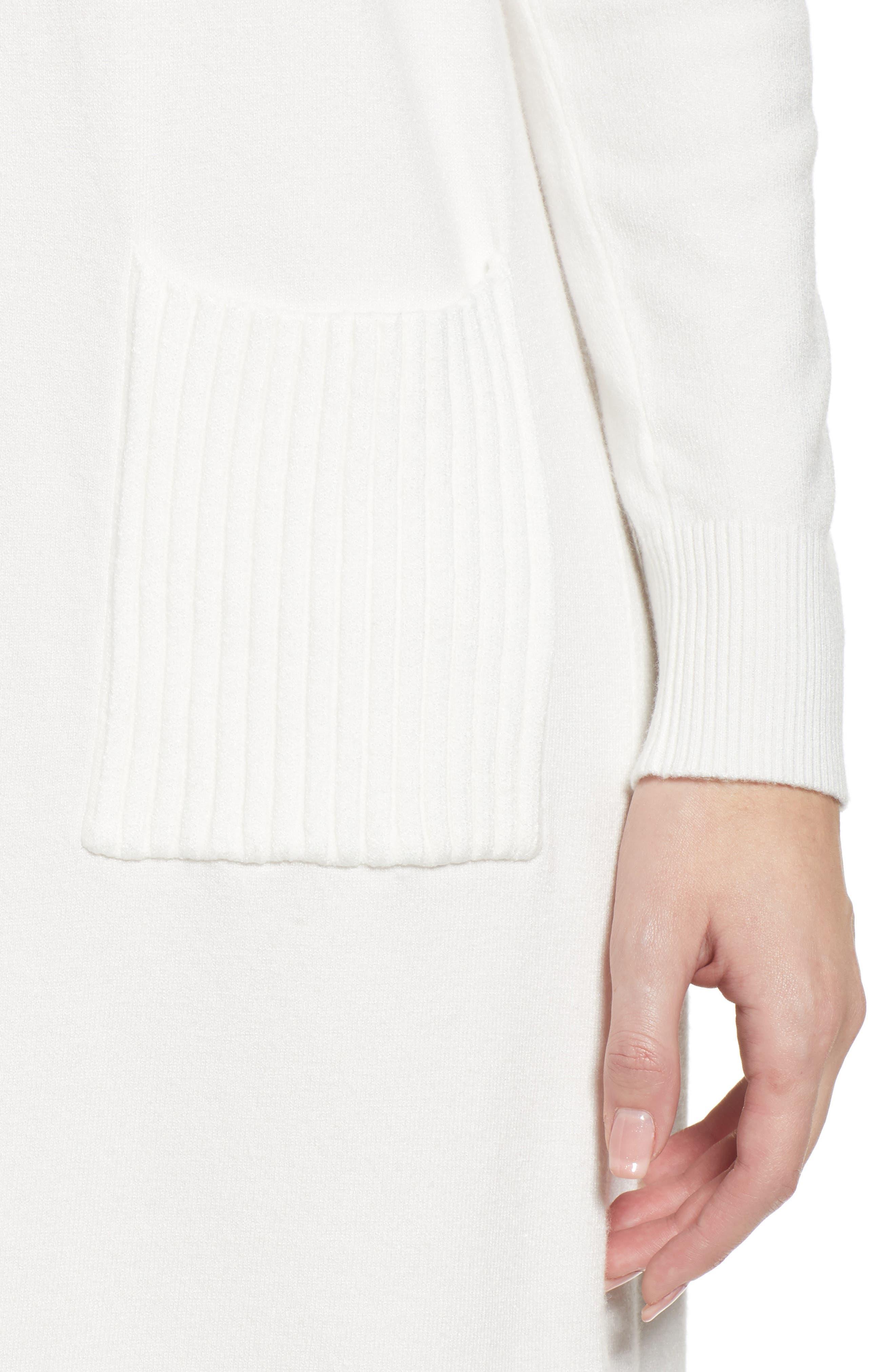 Turtleneck Sweater Dress,                             Alternate thumbnail 4, color,                             IVORY