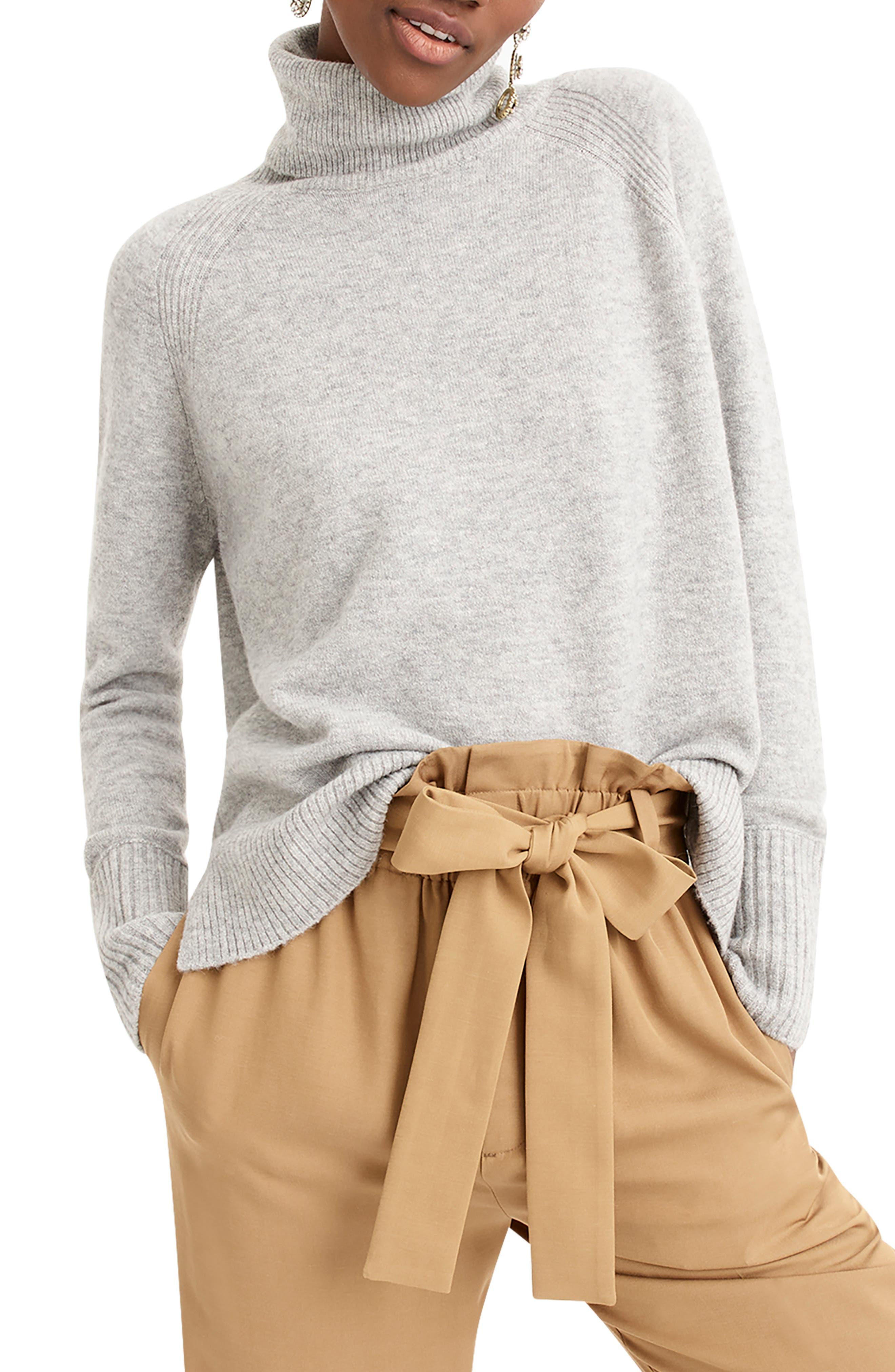 Side Slit Supersoft Turtleneck Sweater,                             Main thumbnail 1, color,                             HEATHER GREY