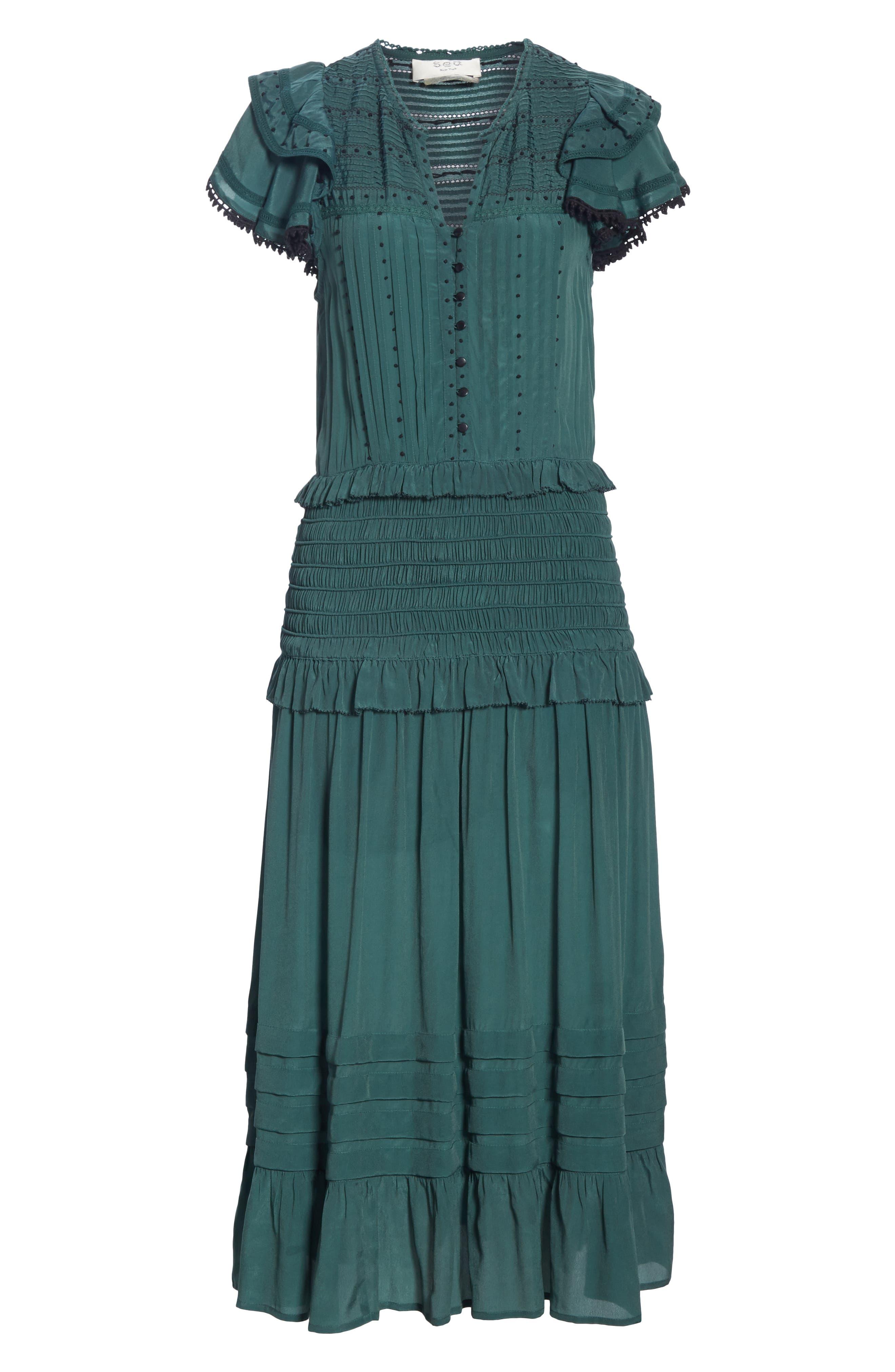 Azzedine Flutter Sleeve Smocked Midi Dress,                             Alternate thumbnail 6, color,                             FOREST