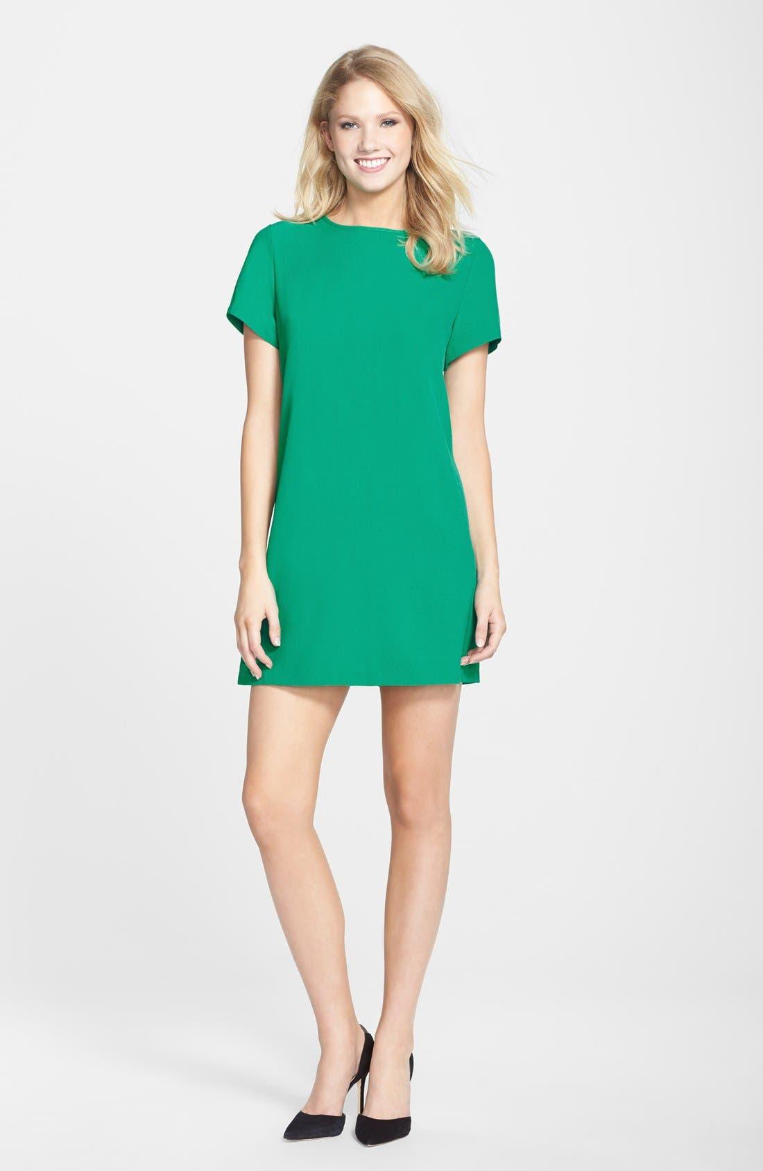 Devery Crepe Shift Dress,                             Alternate thumbnail 12, color,                             EMERALD GREEN