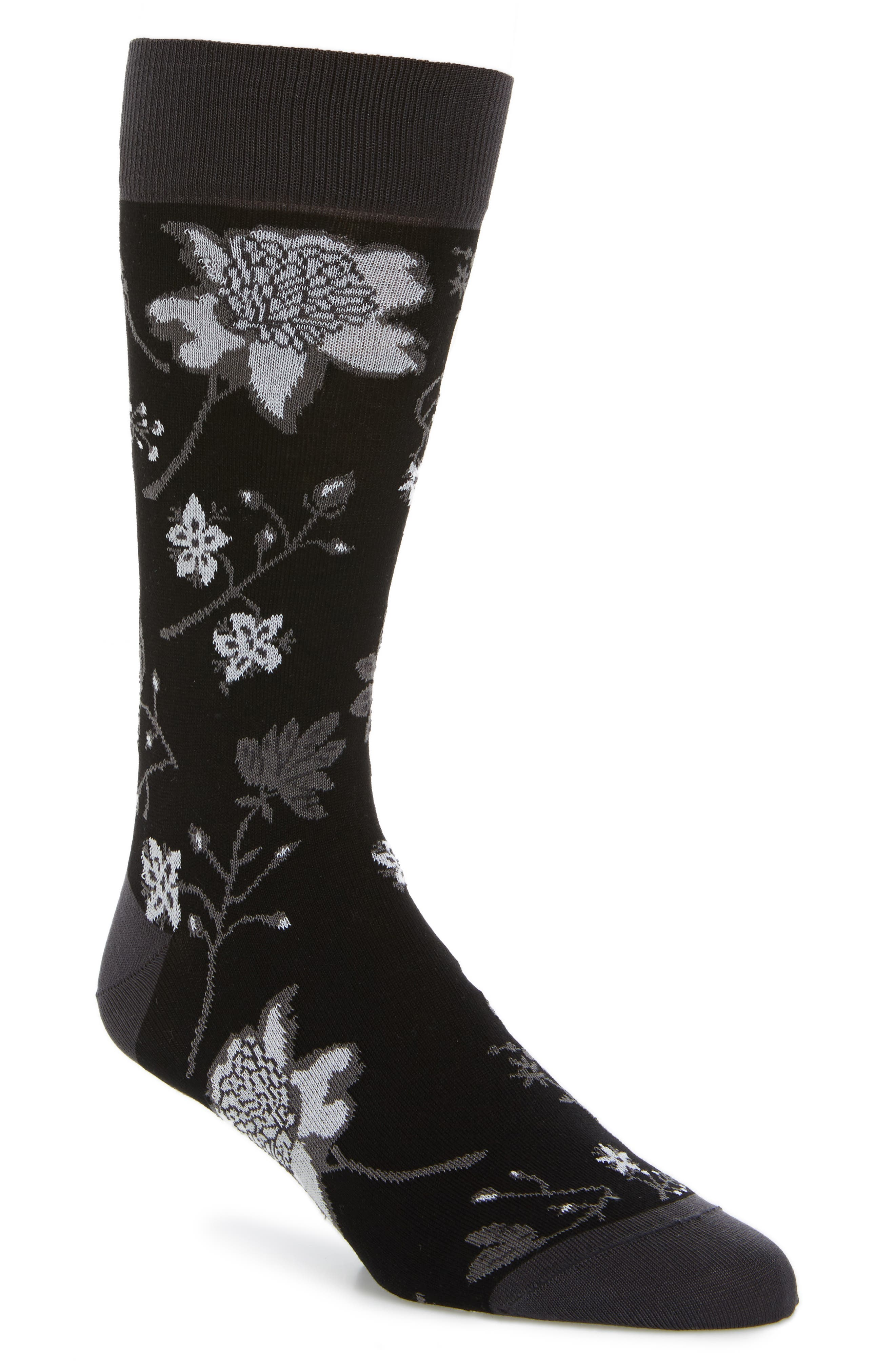 Floral Crew Socks,                             Main thumbnail 2, color,