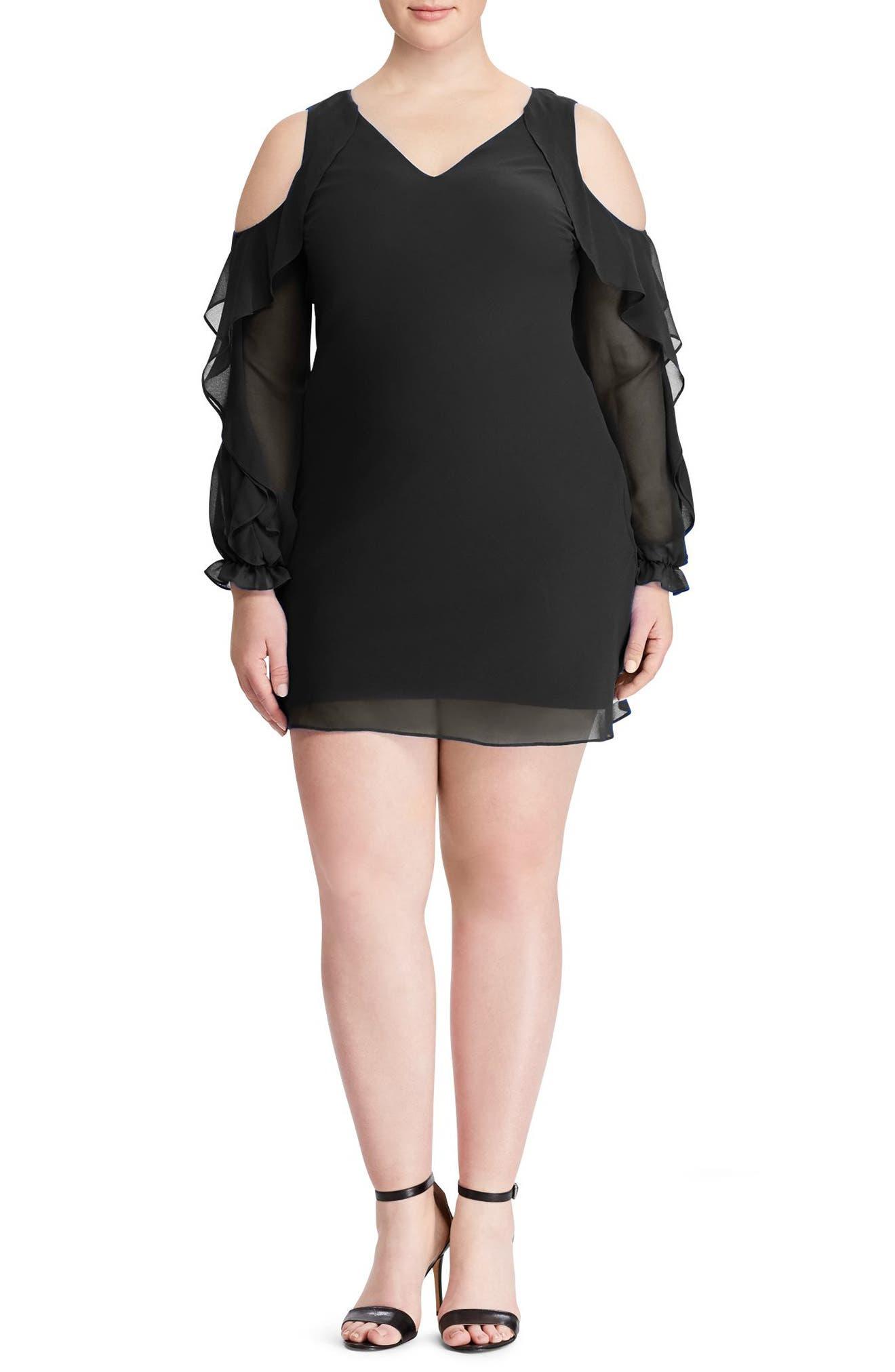 Paiva Ruffle Cold Shoulder Georgette Dress,                             Alternate thumbnail 3, color,