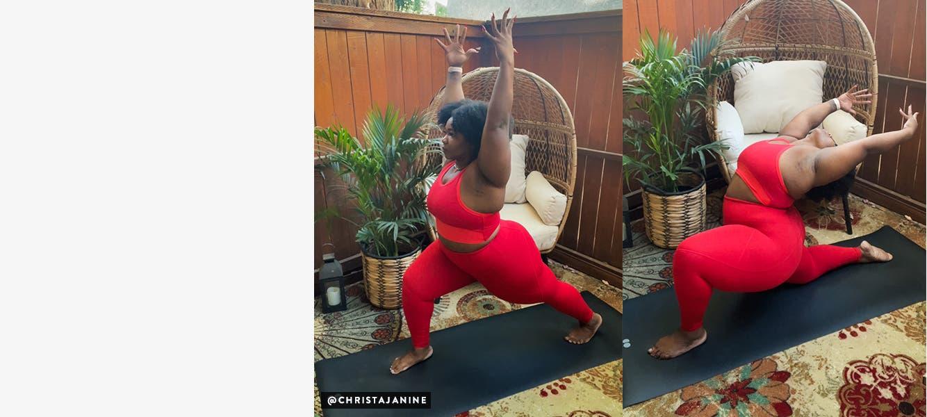 Christa Janine doing yoga in Sweaty Betty by Christa Janine.