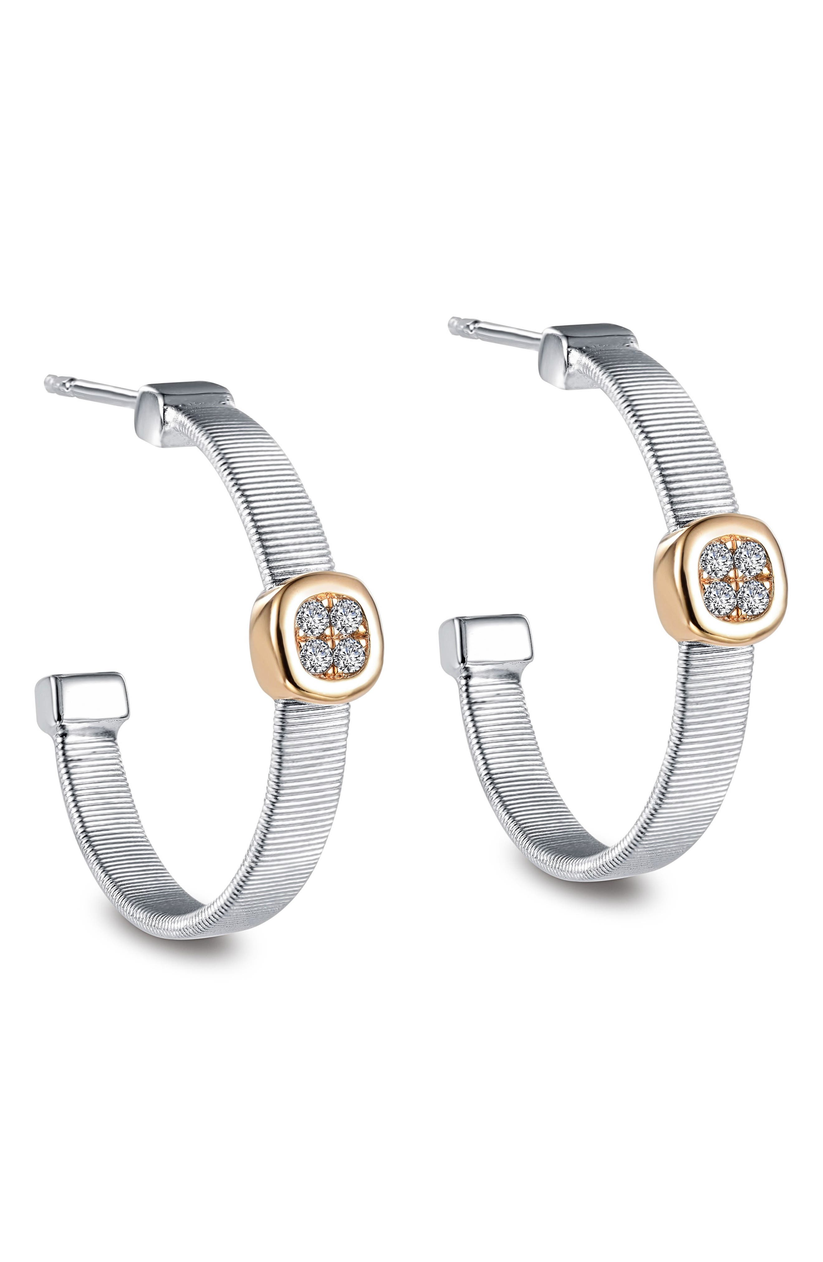 Simulated Diamond Station Hoop Earrings,                             Alternate thumbnail 3, color,                             TWO TONE/ CLEAR