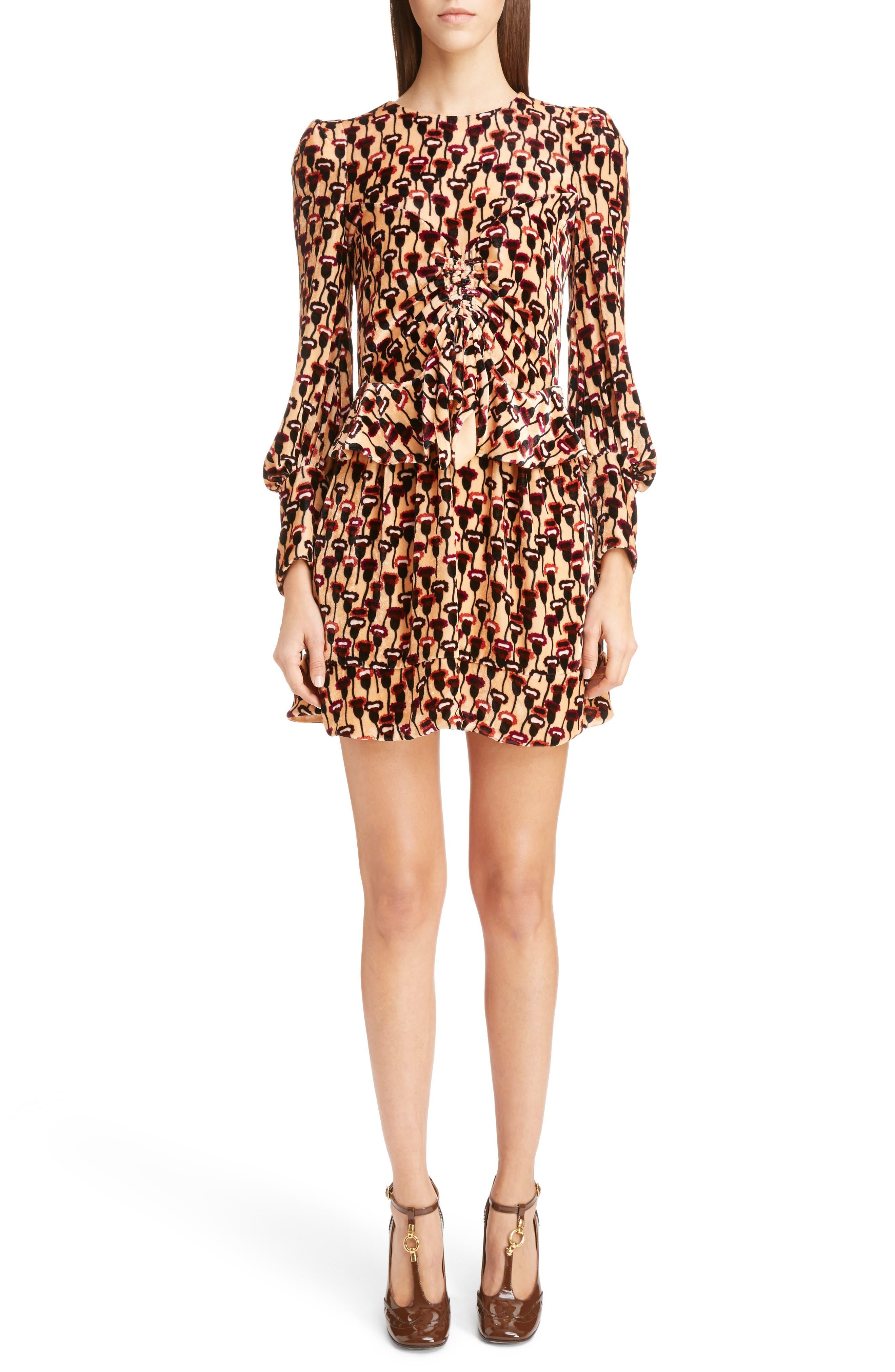 Poppy Print Velvet Peplum Dress,                         Main,                         color, 800