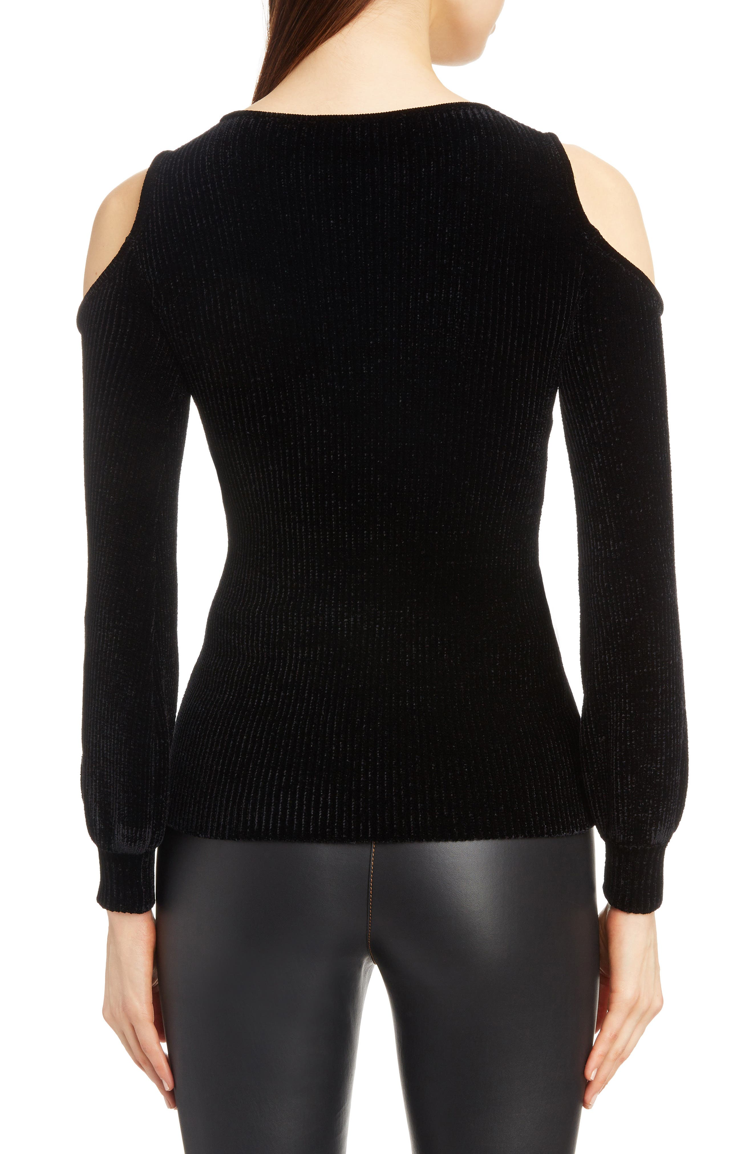 Cold Shoulder Chenille Sweater,                             Alternate thumbnail 2, color,                             BLACK