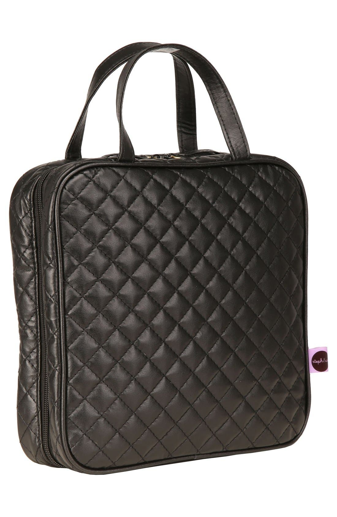 'Marissa' Black Quilted Cosmetics Case,                             Alternate thumbnail 3, color,                             000