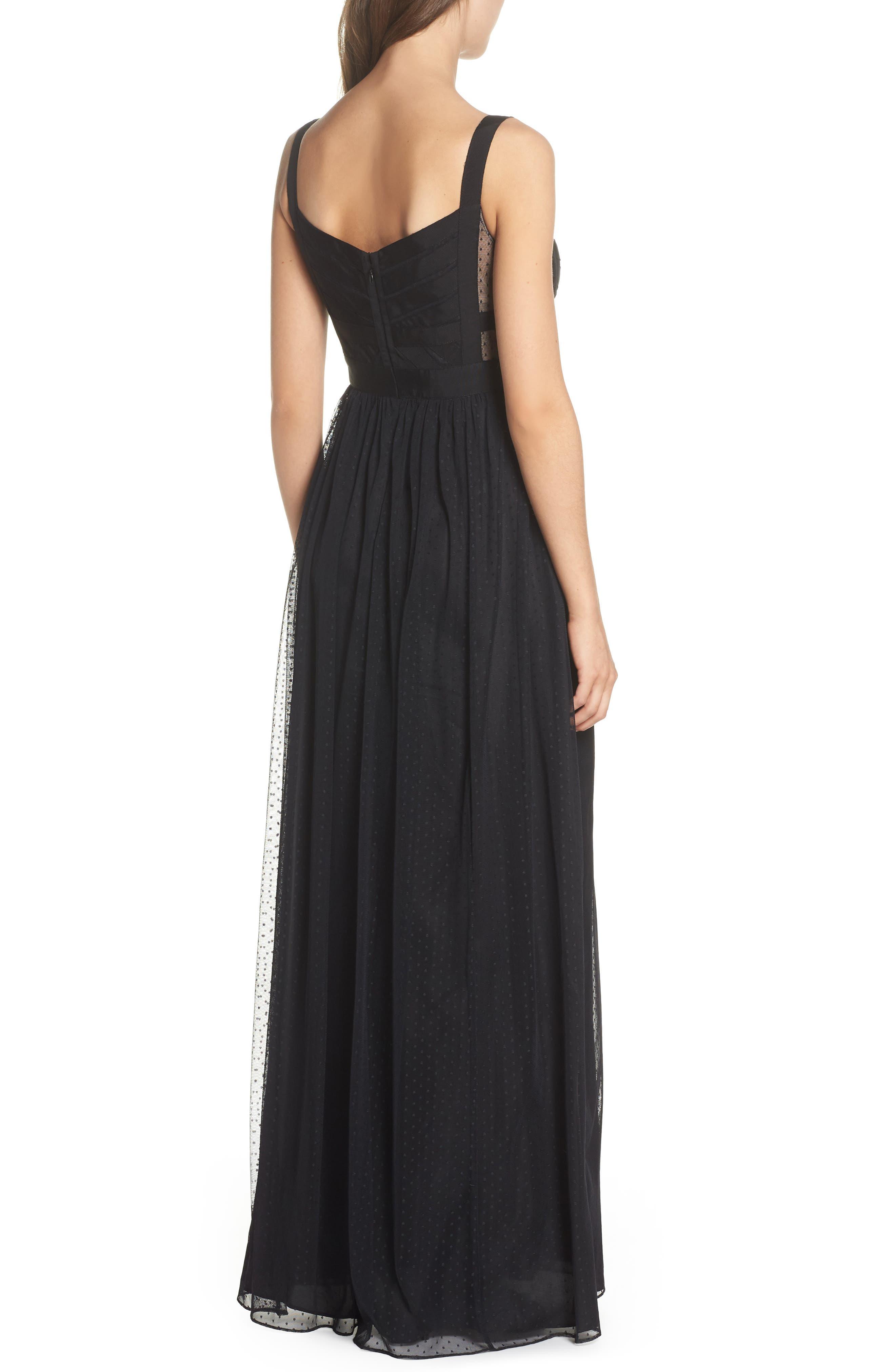 Ribbon Bodice Point d'Esprit Gown,                             Alternate thumbnail 2, color,                             002