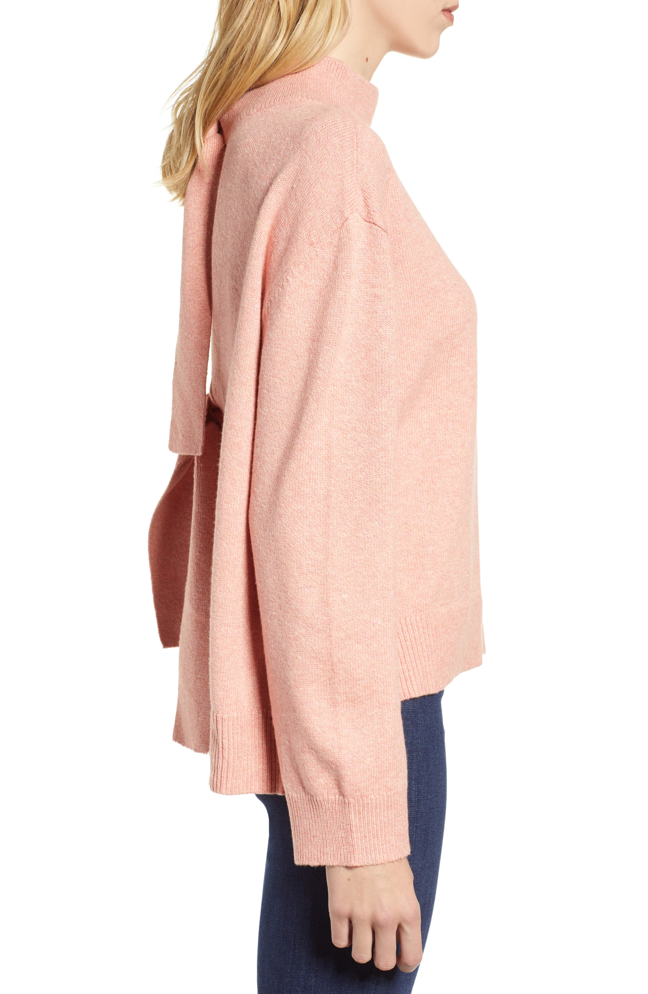 Tie Back Cotton Blend Sweater,                             Alternate thumbnail 3, color,                             PINK BISQUE HEATHER