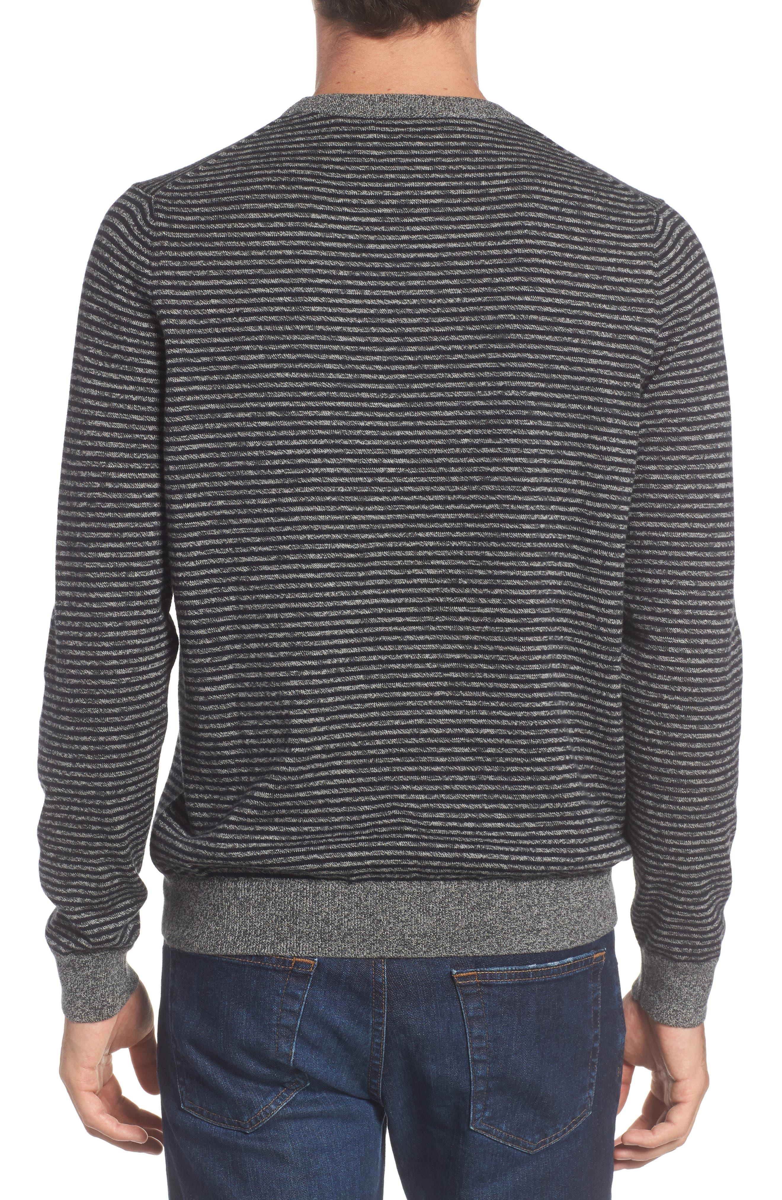 Stripe Cotton & Cashmere Crewneck Sweater,                             Alternate thumbnail 2, color,                             001