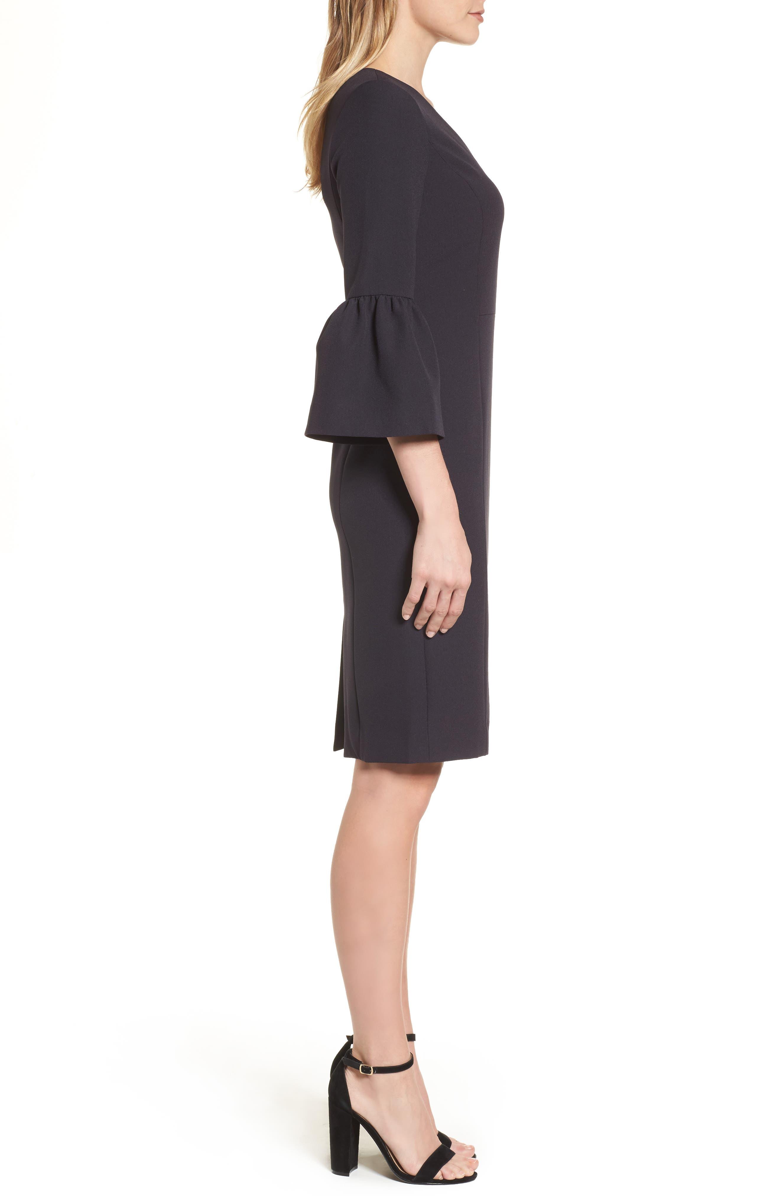 Bell Sleeve Sheath Dress,                             Alternate thumbnail 3, color,                             001
