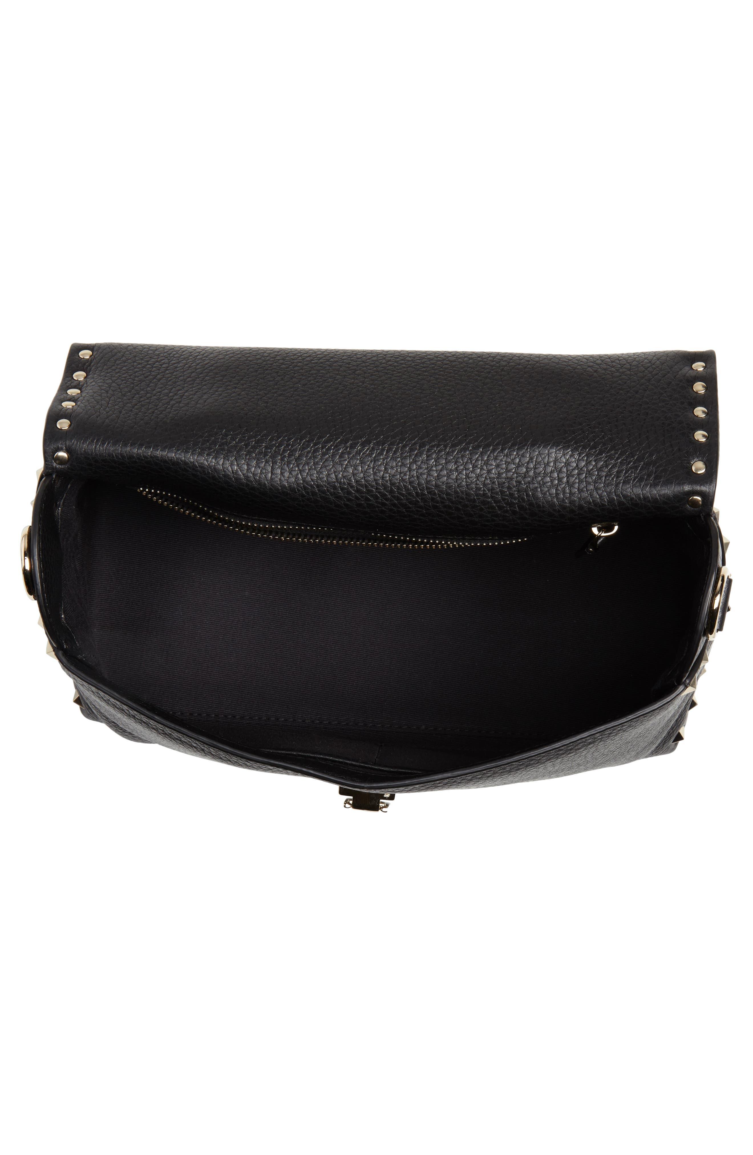 Rockstud Leather Top Handle Bag,                             Alternate thumbnail 4, color,                             NERO