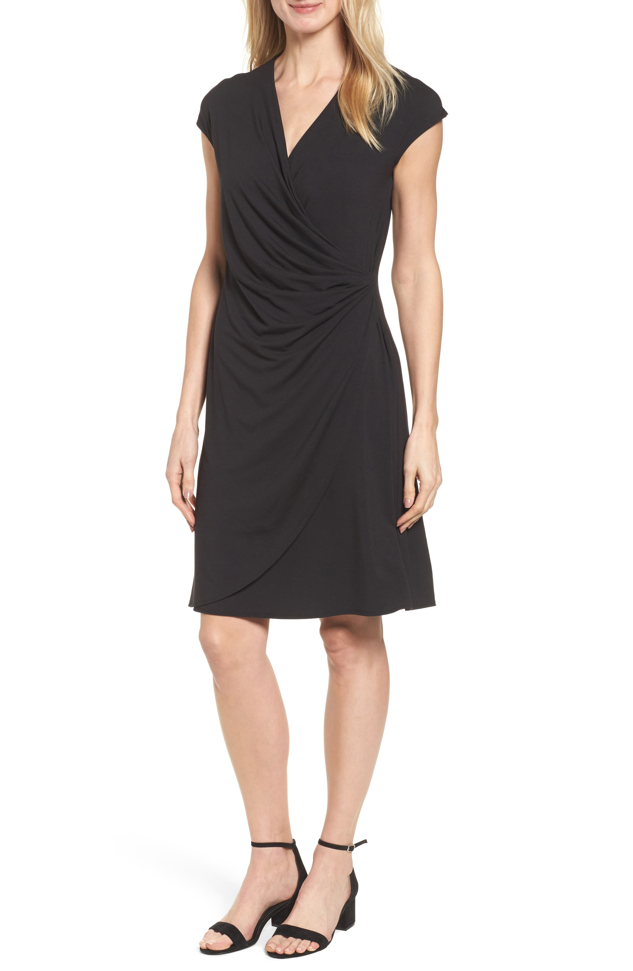 Tambour Side Gathered Jersey Dress,                             Alternate thumbnail 5, color,                             001
