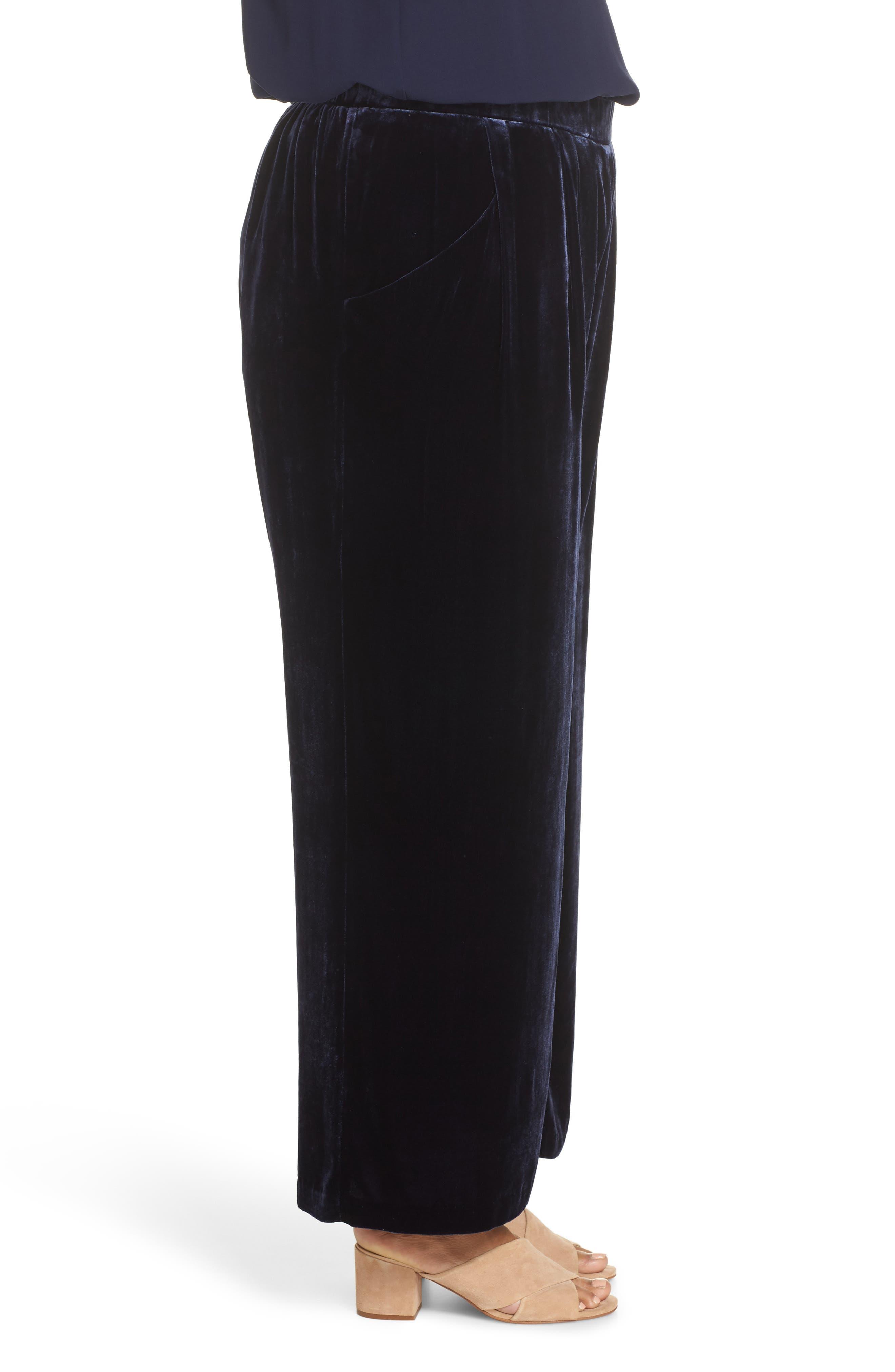 High Rise Wide Leg Velvet Ankle Pants,                             Alternate thumbnail 3, color,                             MIDNIGHT