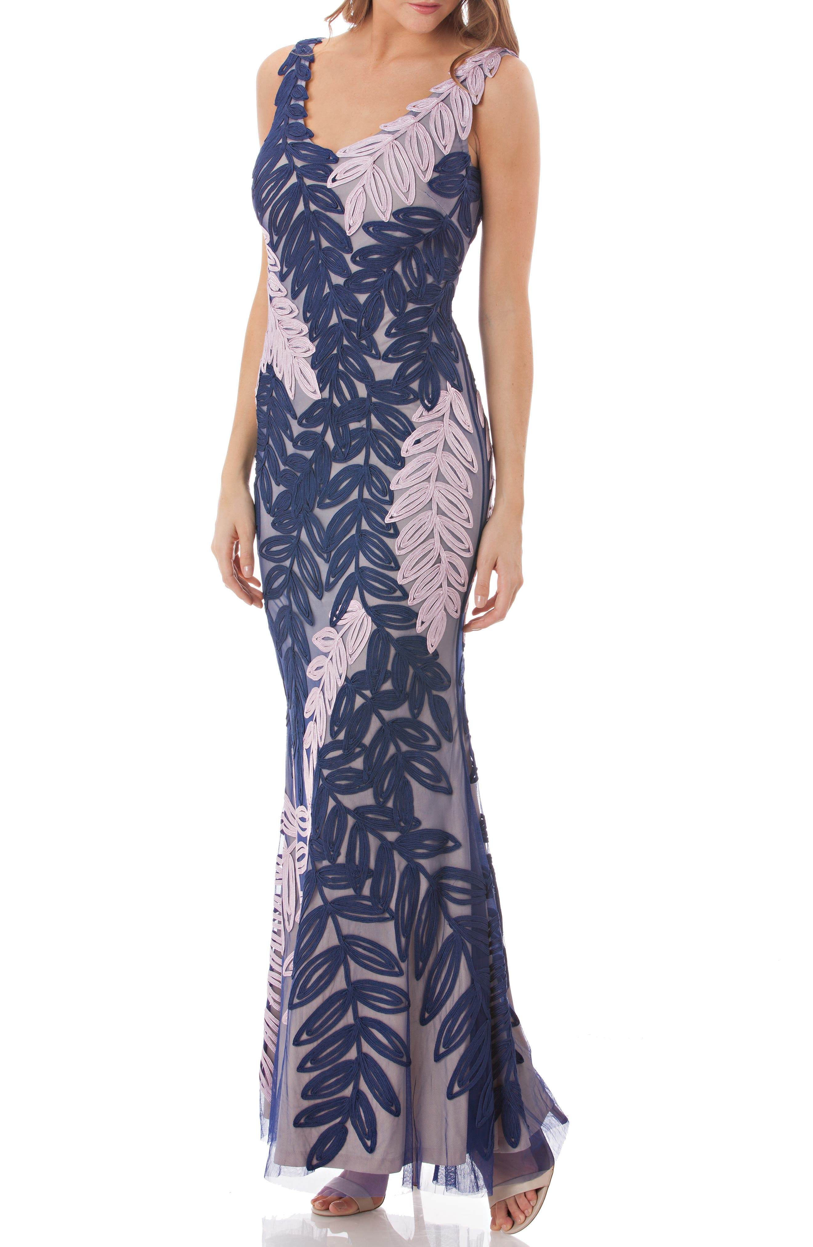 Js Collections Leaf Soutache Trumpet Gown, Purple