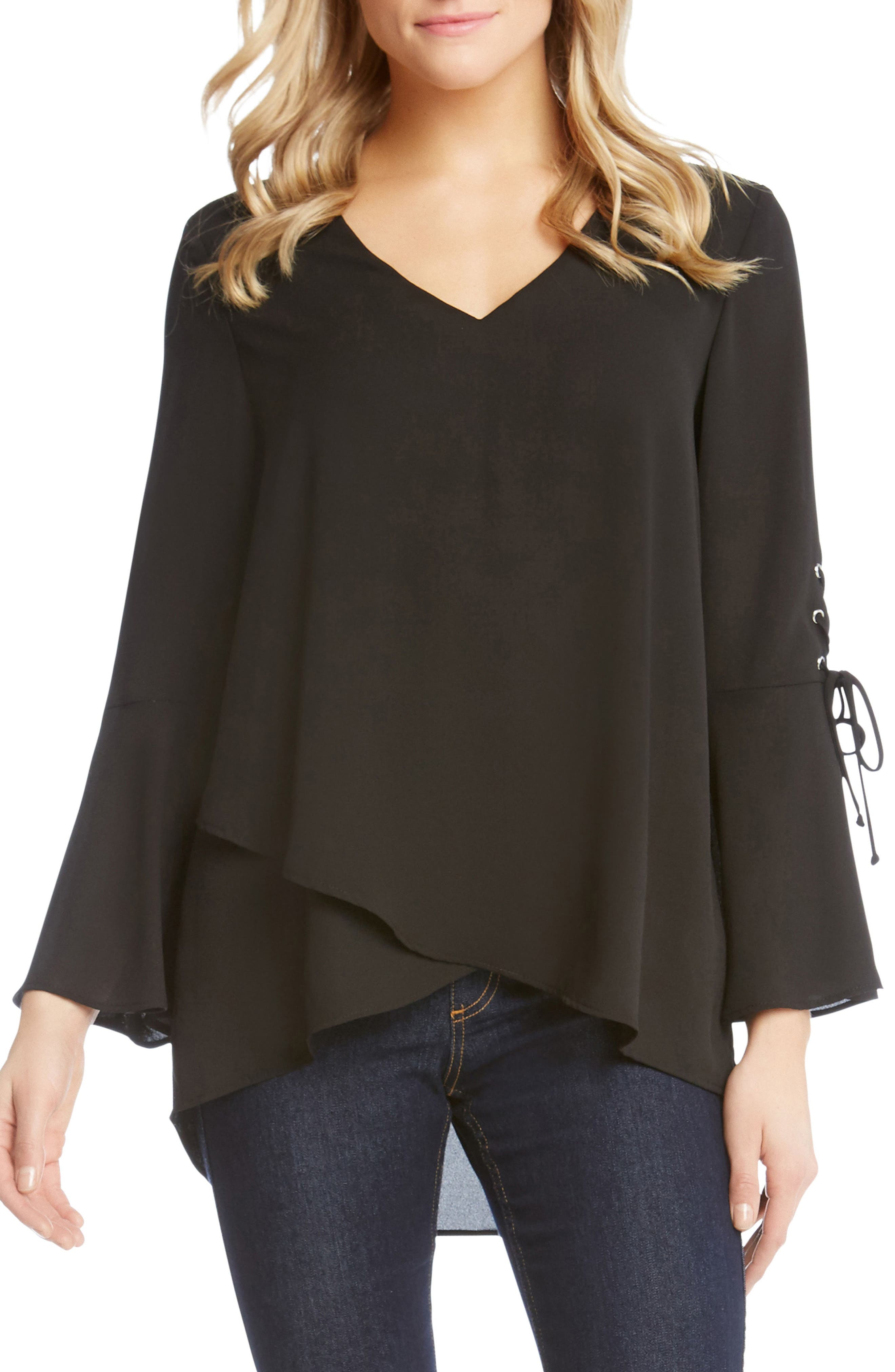 Split Front Tie-Sleeve Top,                             Main thumbnail 1, color,                             001