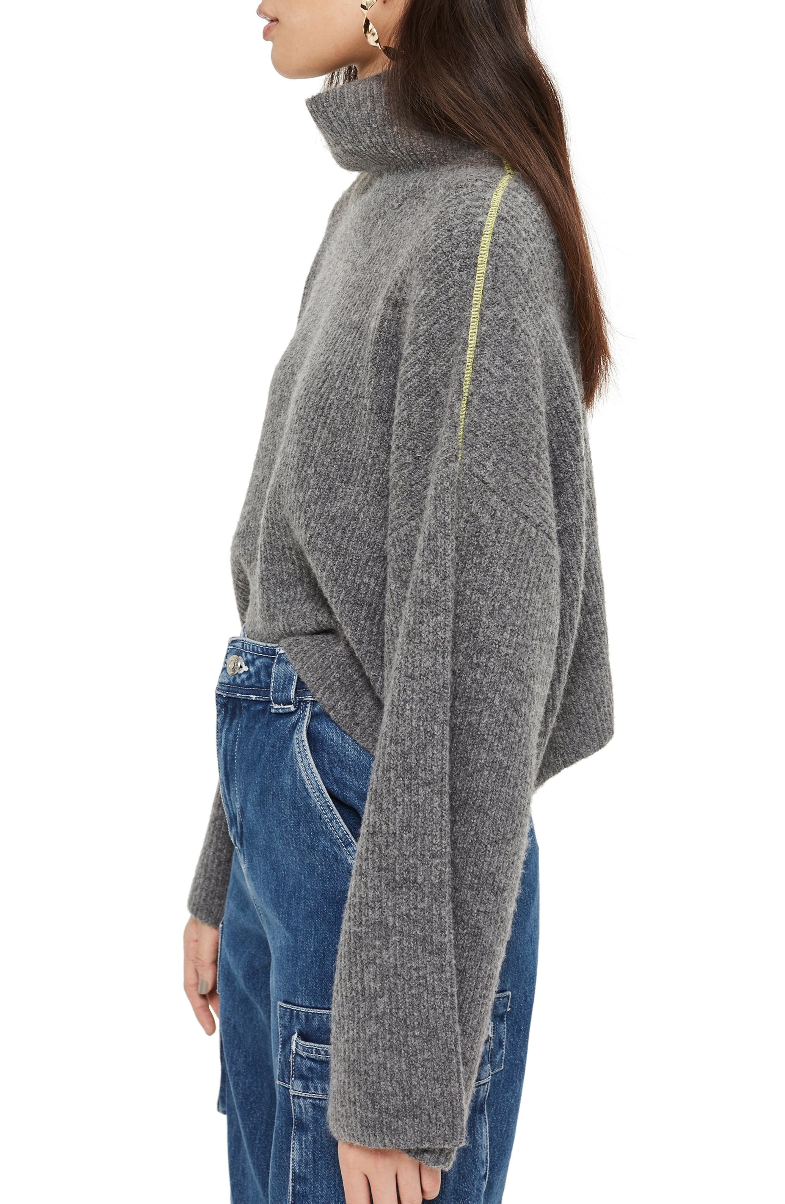 TOPSHOP,                             Roll Neck Crop Sweater,                             Alternate thumbnail 3, color,                             CHARCOAL
