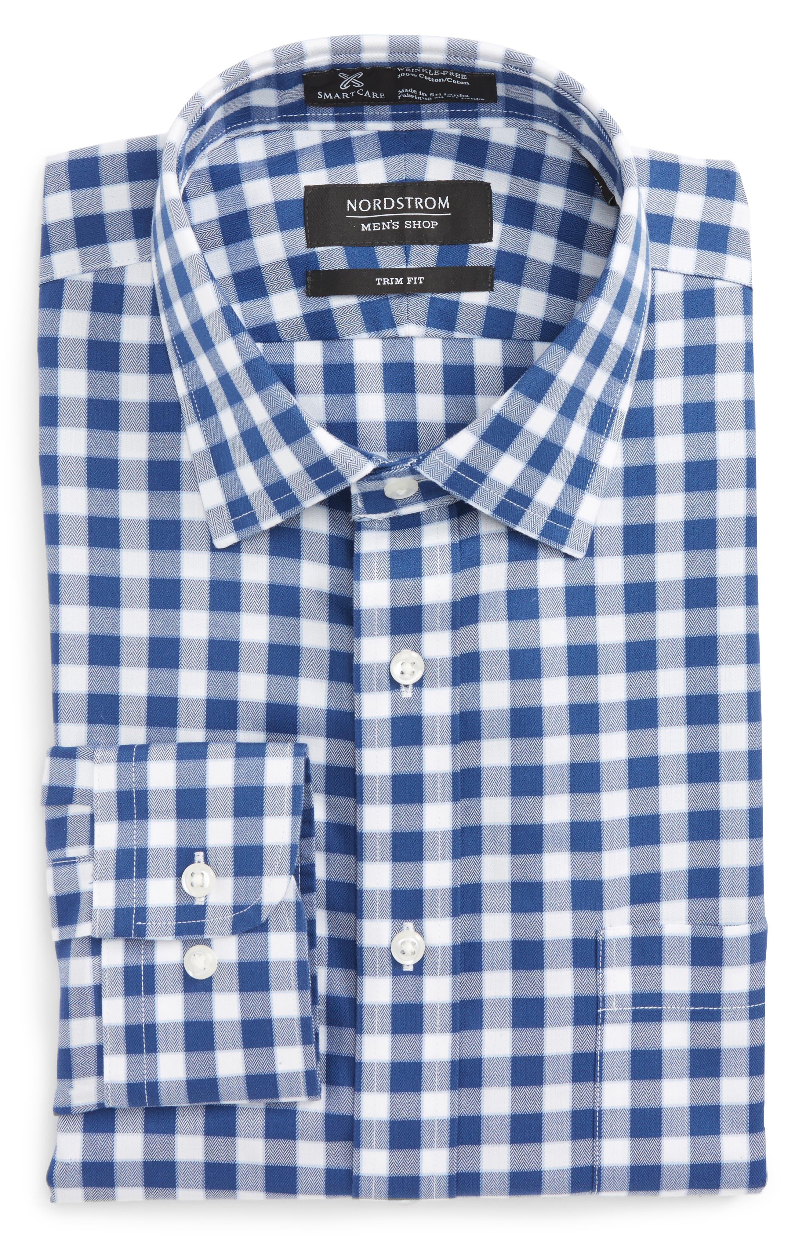 Smartcare<sup>™</sup> Trim Fit Check Dress Shirt,                             Main thumbnail 2, color,