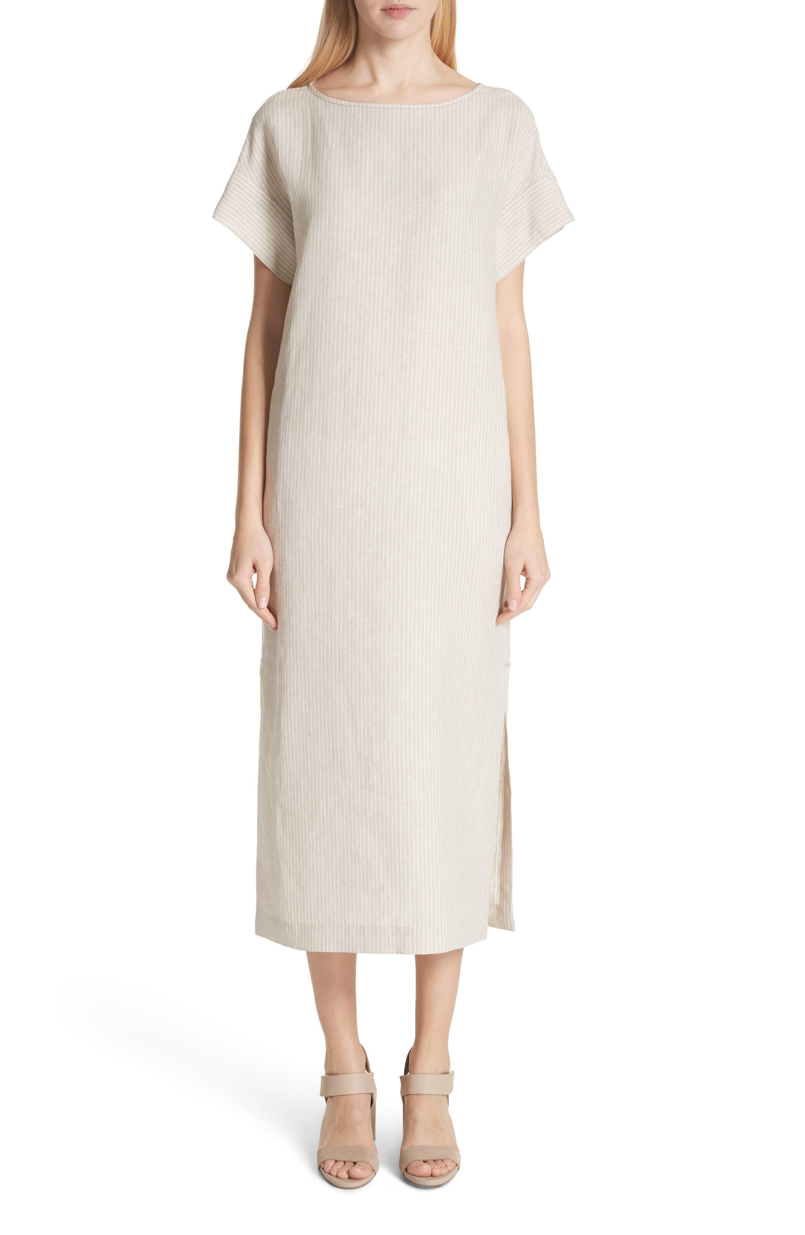 LAFAYETTE 148 NEW YORK Emiline Stripe Linen Dress, Main, color, 251