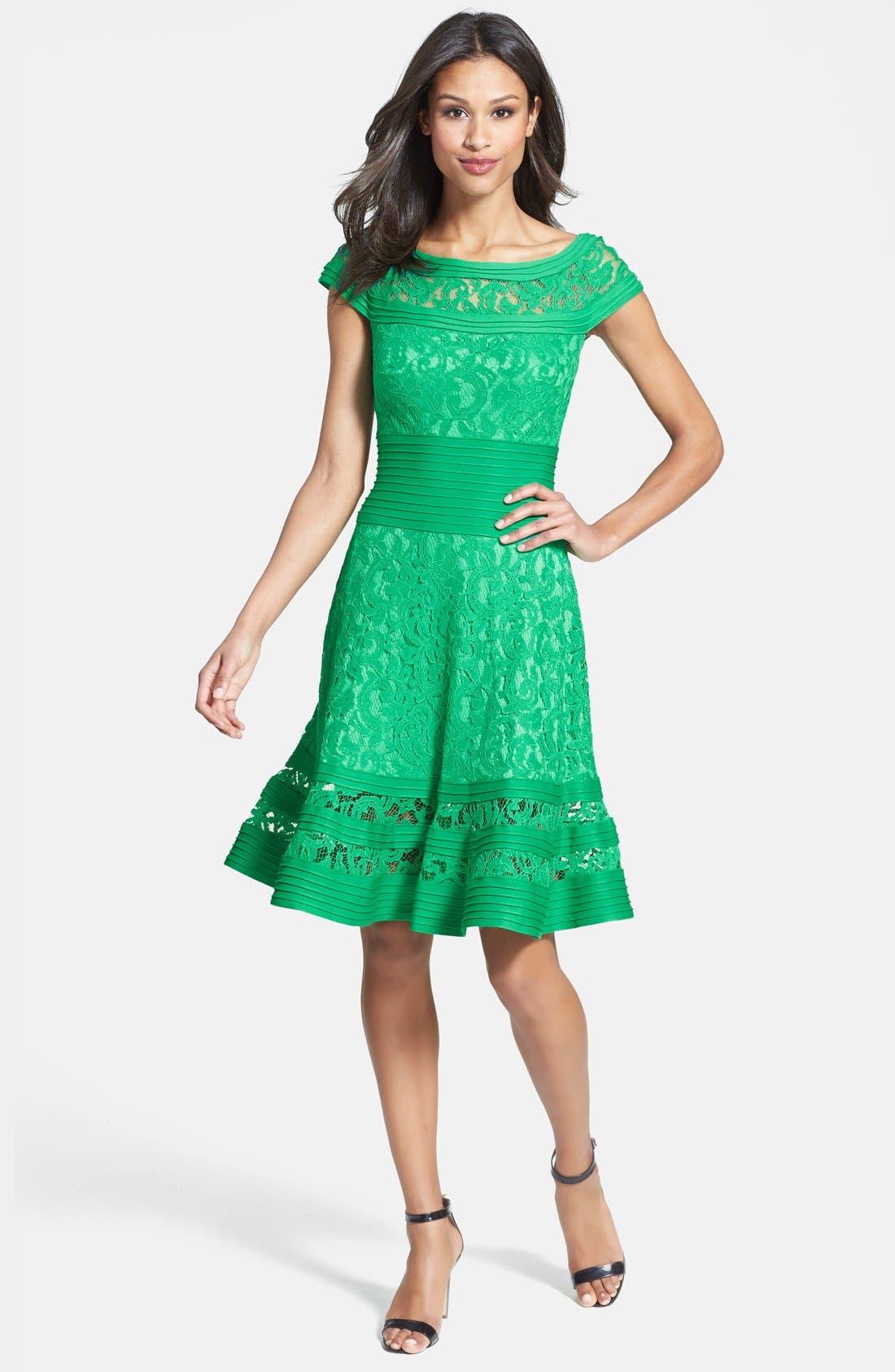 Cap Sleeve Lace Fit & Flare Dress,                             Alternate thumbnail 2, color,                             346