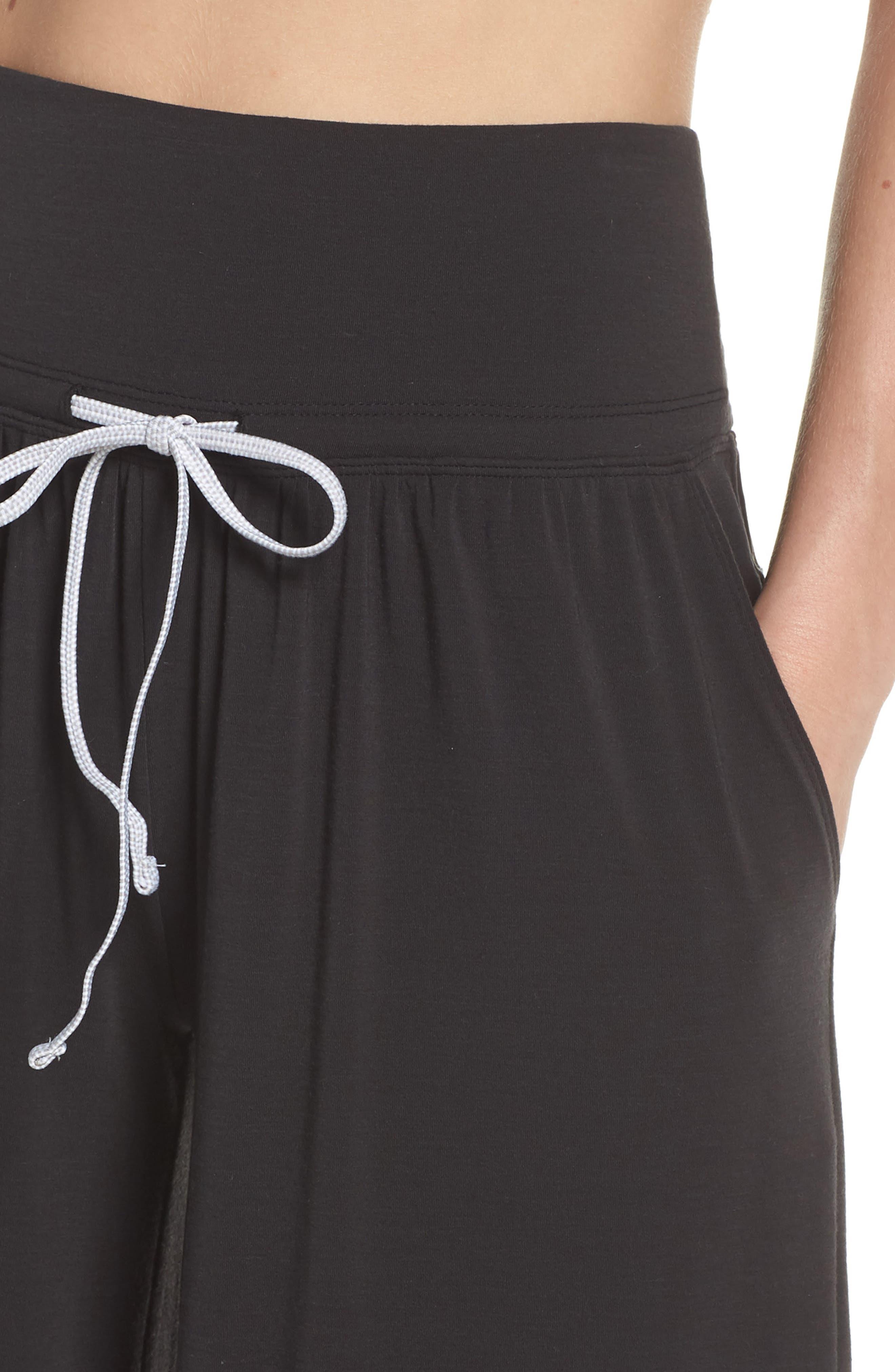 Easy Breezy Wide Leg Cover-Up Pants,                             Alternate thumbnail 4, color,                             BLACK