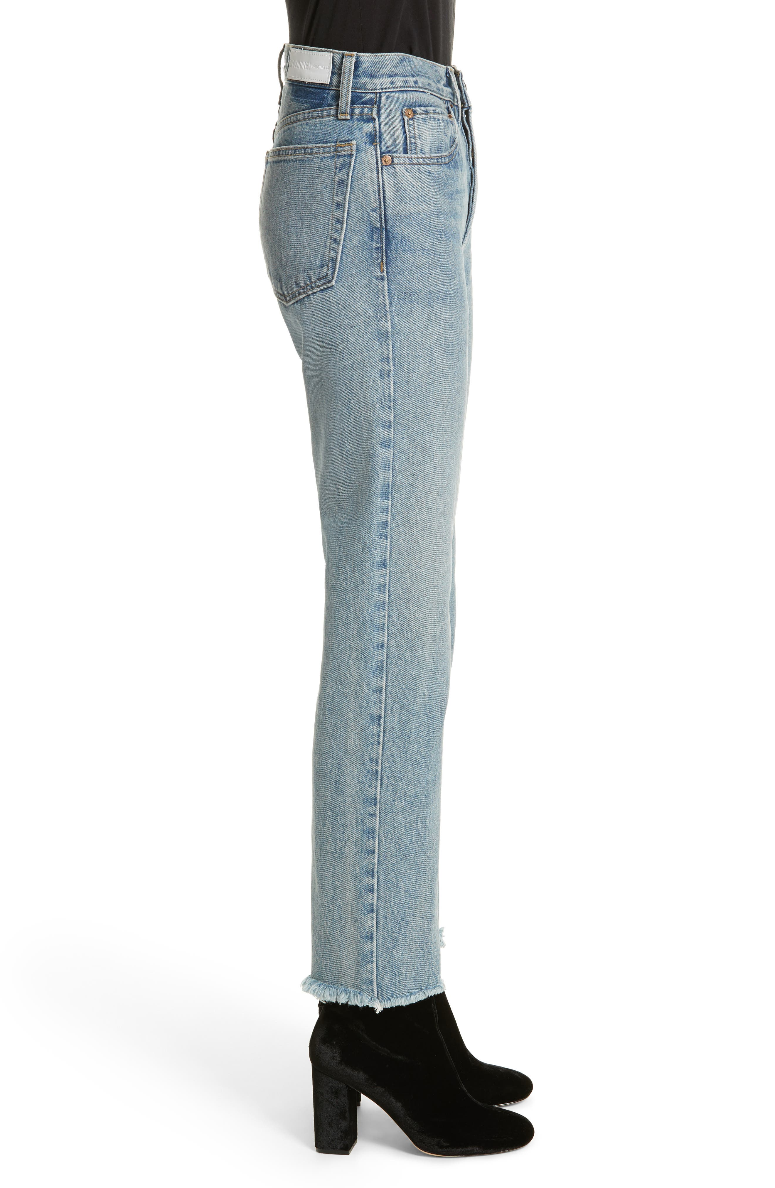 High Waist Stove Pipe Jeans,                             Alternate thumbnail 3, color,                             450