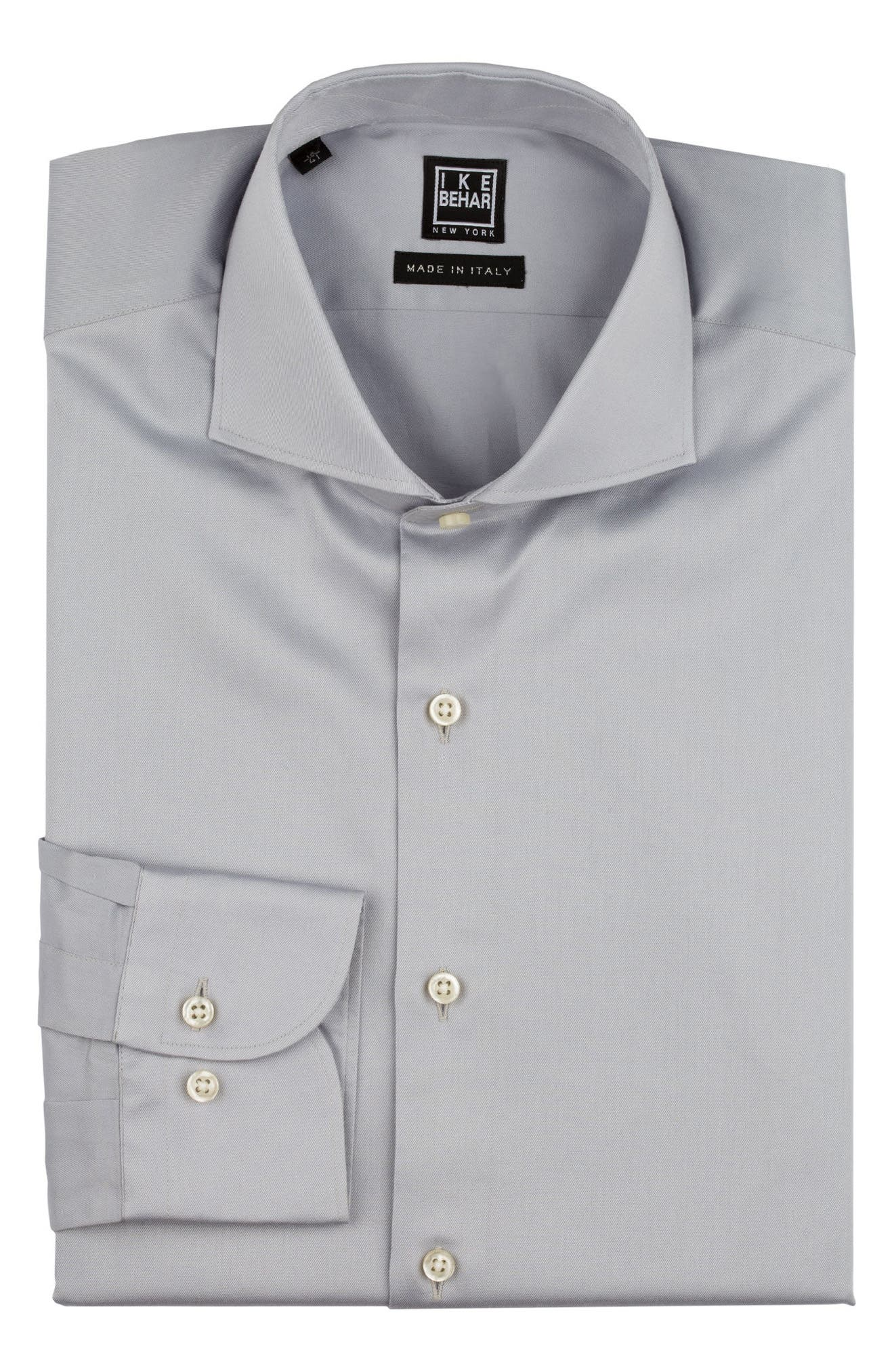 Regular Fit Solid Dress Shirt,                             Alternate thumbnail 5, color,                             SILVER
