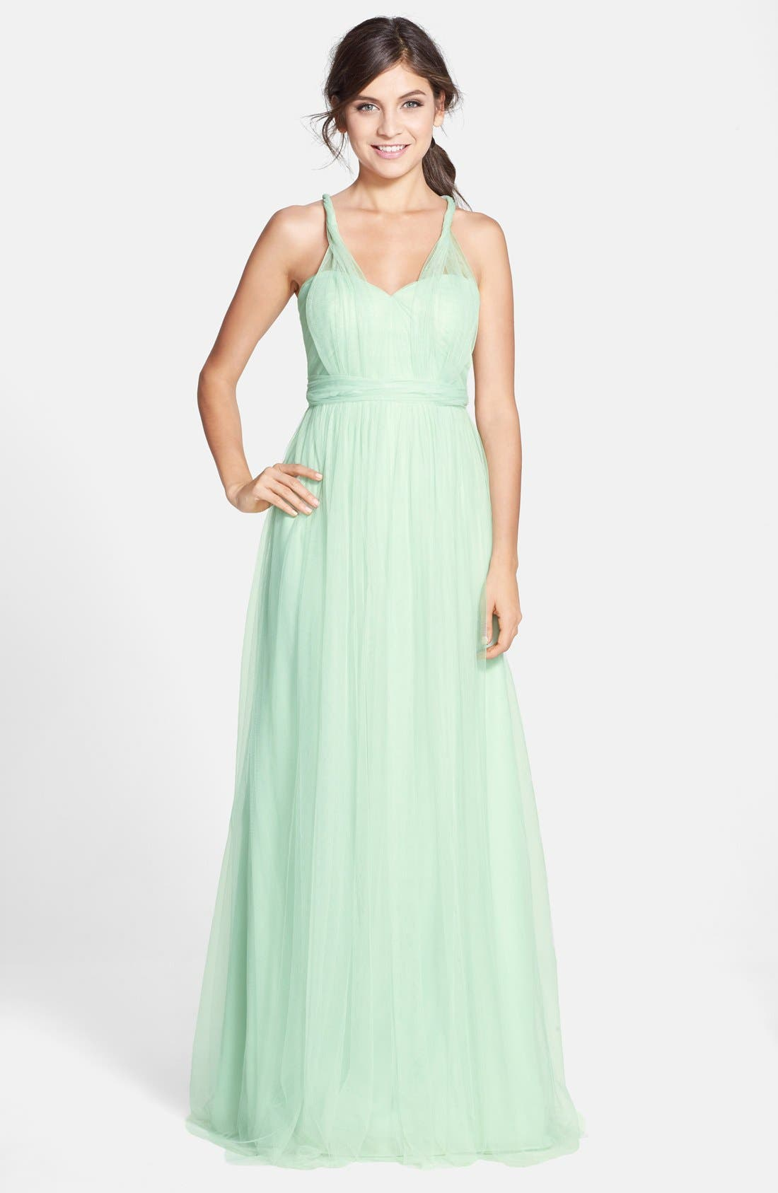 Annabelle Convertible Tulle Column Dress,                             Alternate thumbnail 110, color,